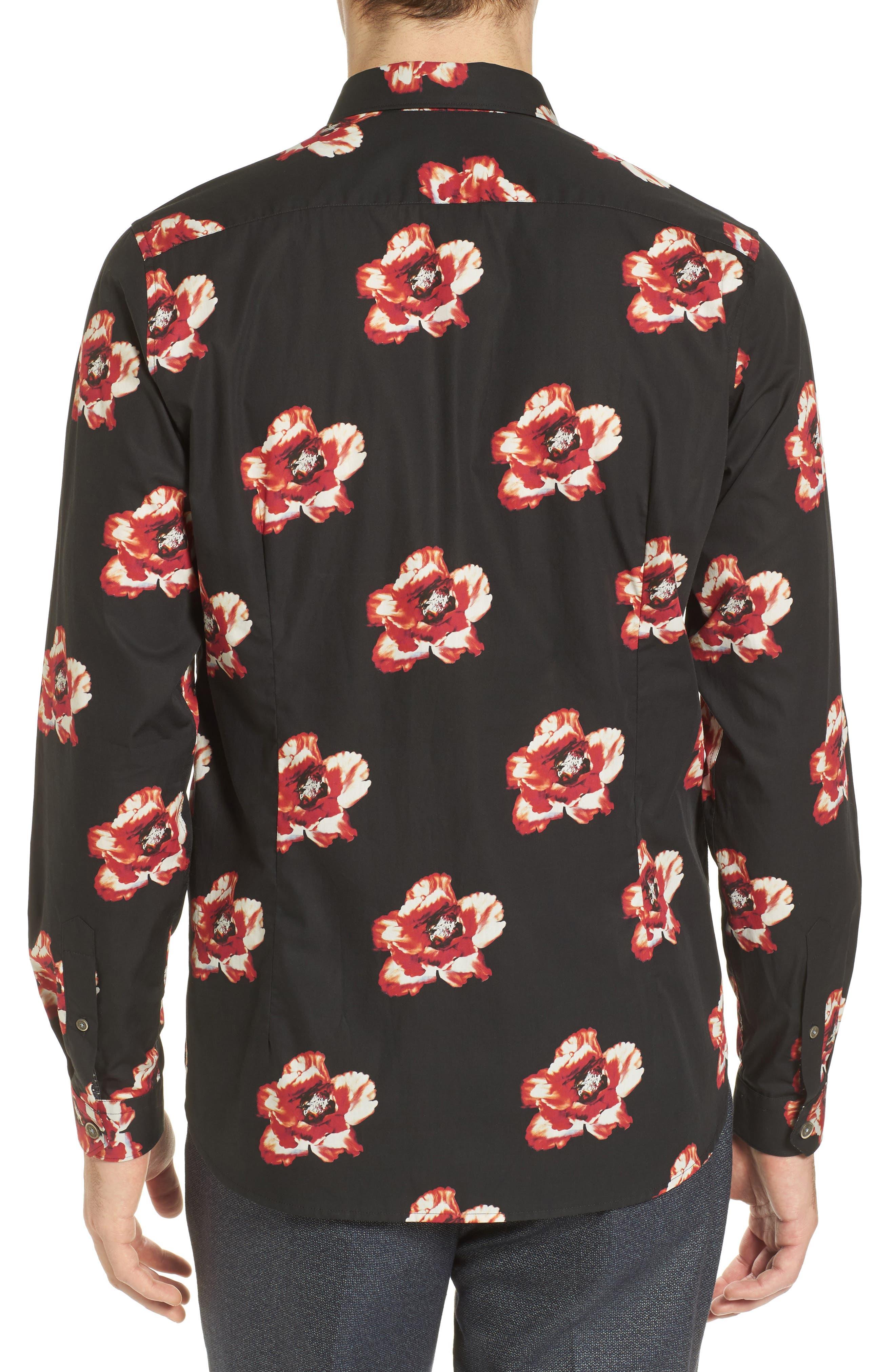 Lilky Trim Fit Floral Sport Shirt,                             Alternate thumbnail 2, color,