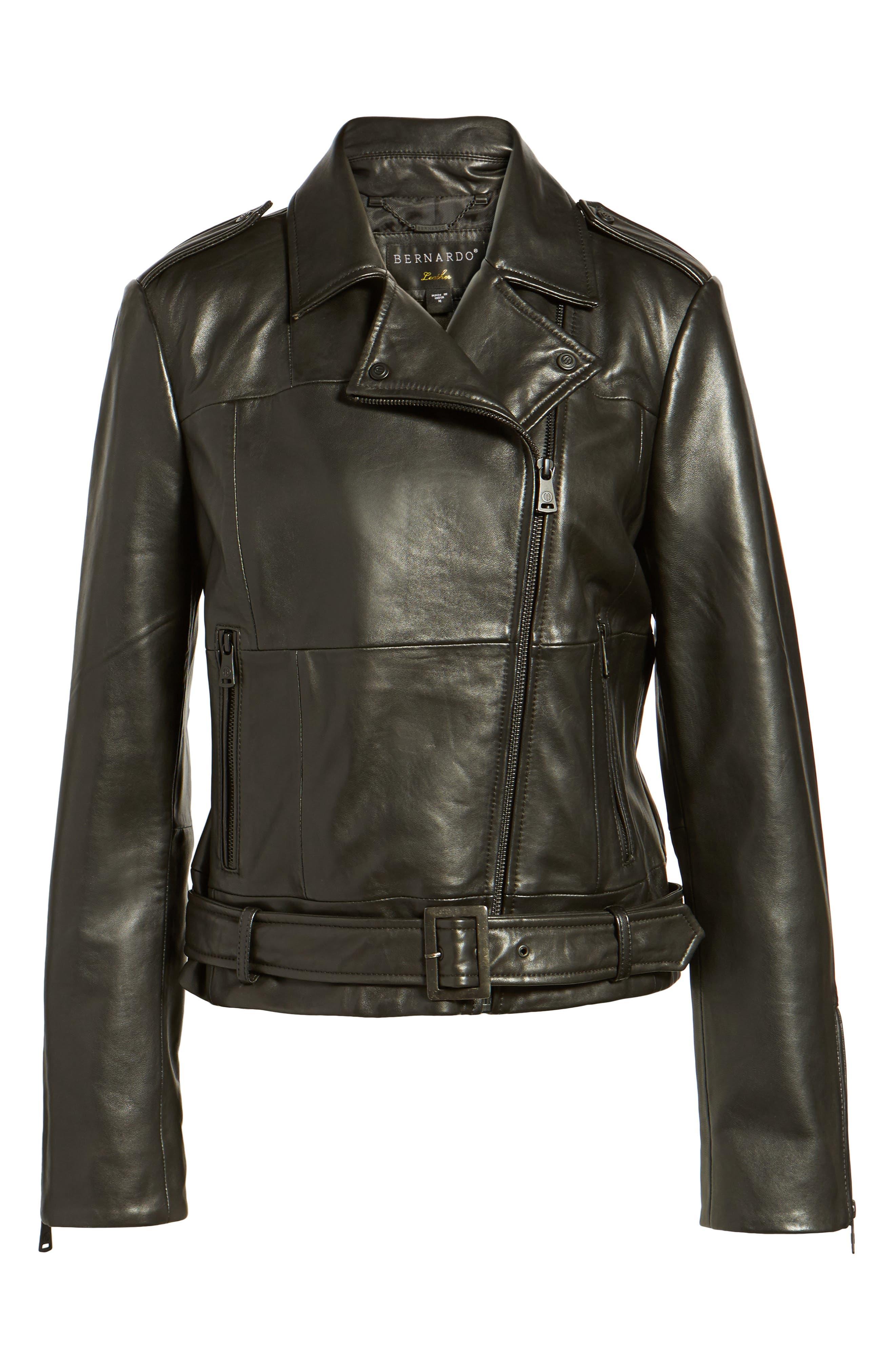Belted Leather Moto Jacket,                             Alternate thumbnail 5, color,