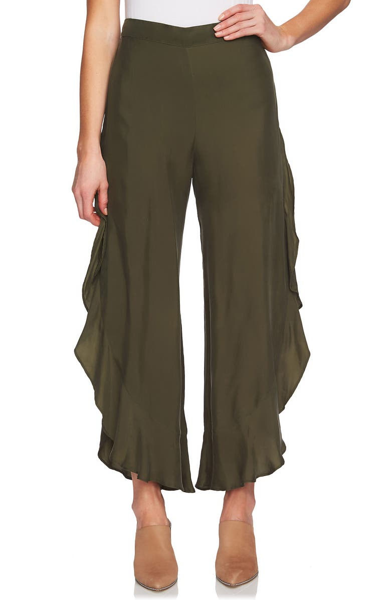 1.STATE Ruffle Wide Leg Pants, Main, color, OLIVE TREE