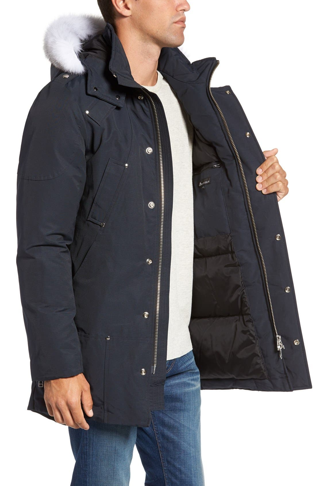 Stirling Water Repellent Down Parka with Genuine Fox Fur Trim,                             Alternate thumbnail 4, color,                             DARK NAVY