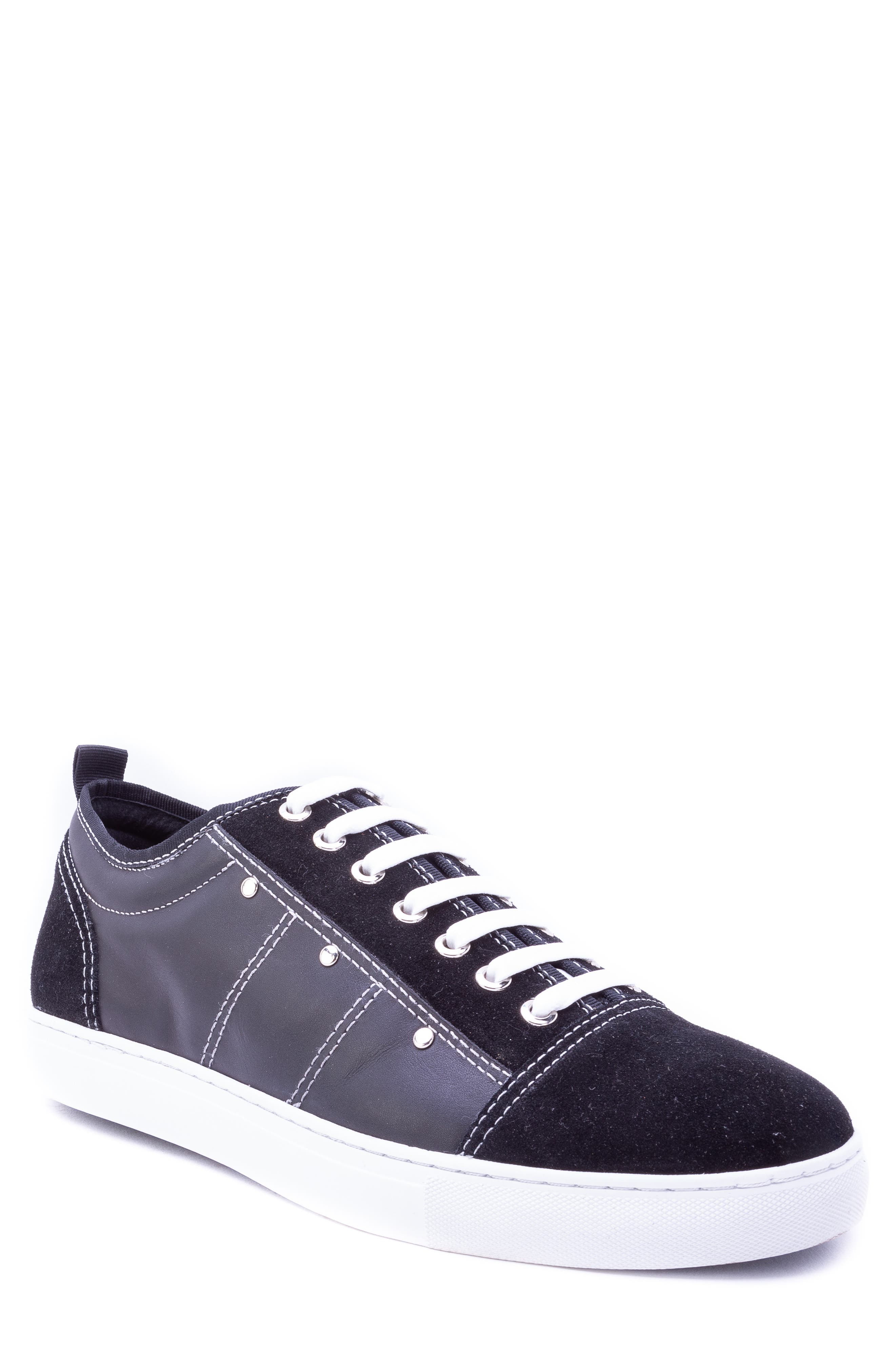 Severn Studded Low Top Sneaker,                         Main,                         color, BLACK SUEDE/ LEATHER