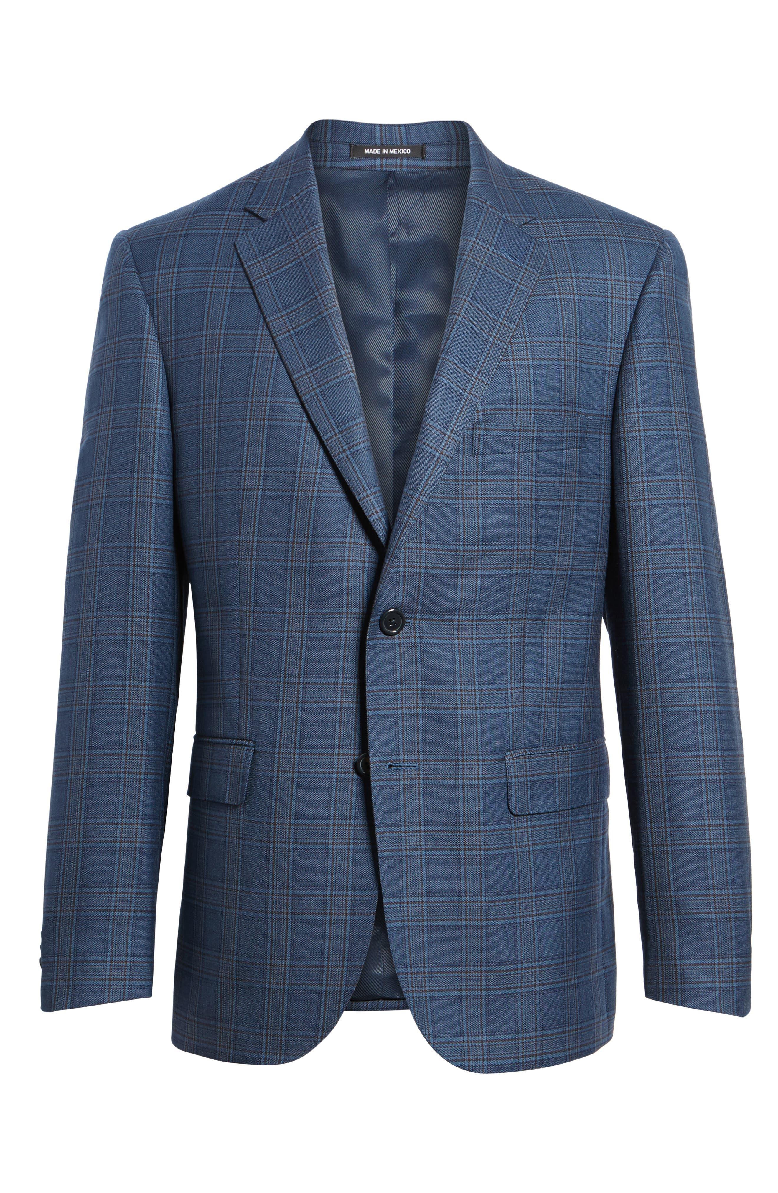 Classic Fit Plaid Wool Sport Coat,                             Alternate thumbnail 5, color,                             422