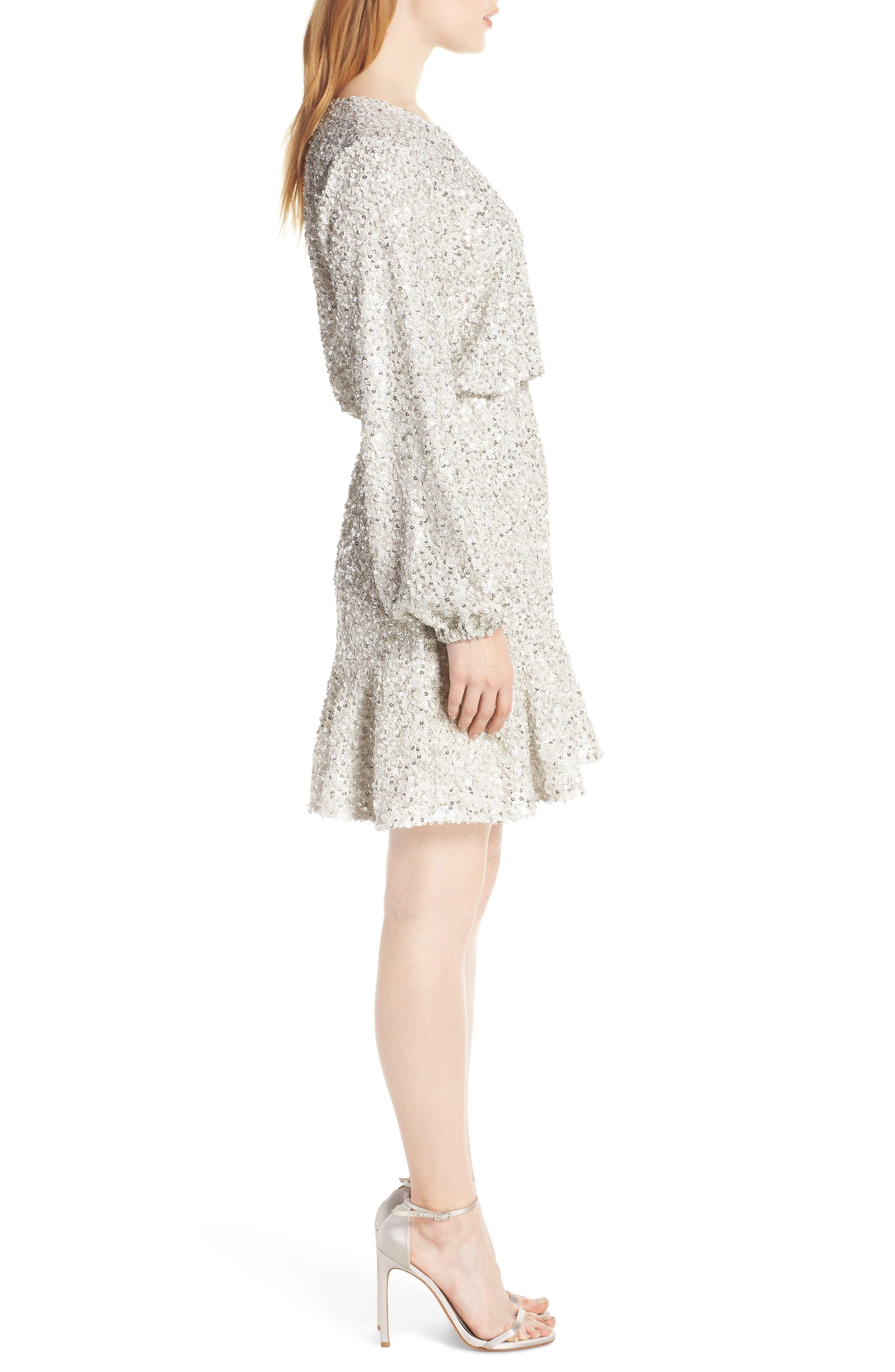 Sequin Ruffle Hem Dress,                             Alternate thumbnail 3, color,                             SILVER