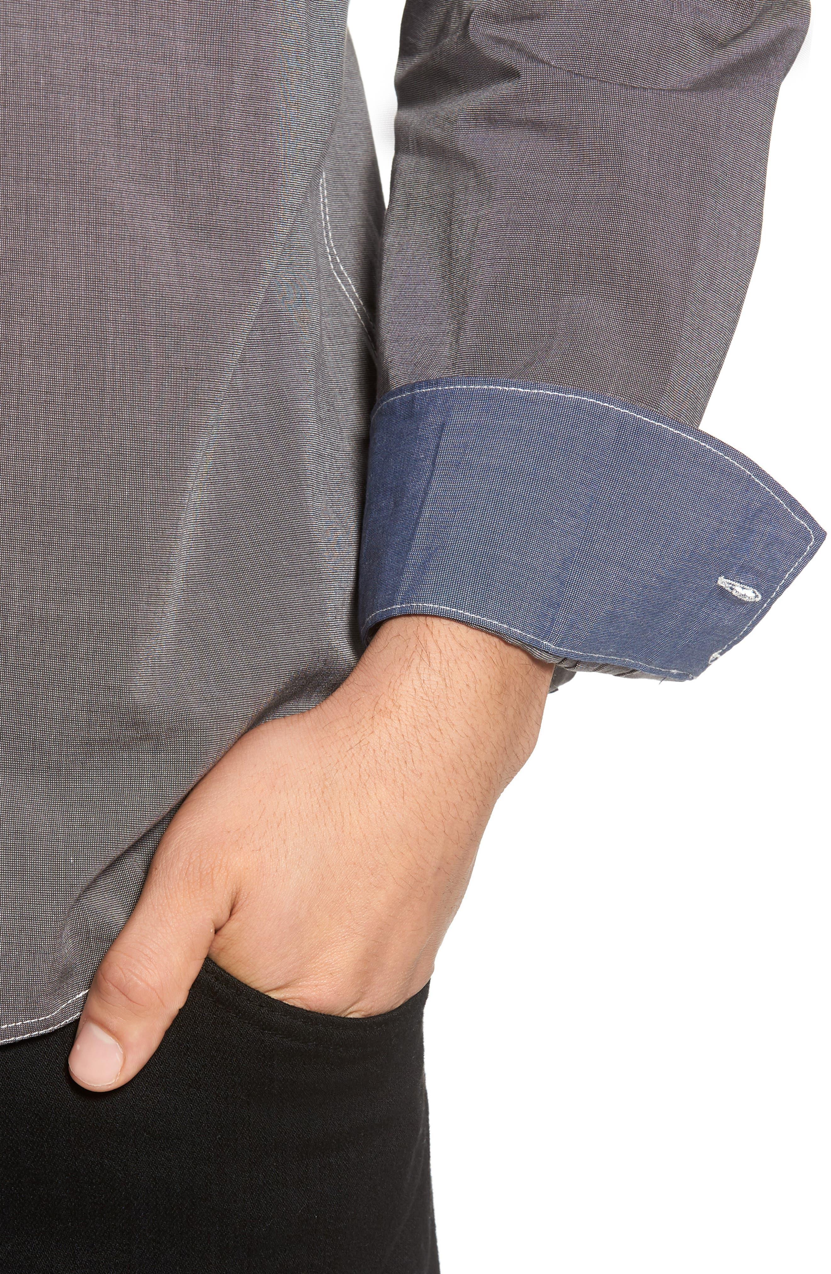 Seaside Regular Fit Sport Shirt,                             Alternate thumbnail 4, color,                             COAL