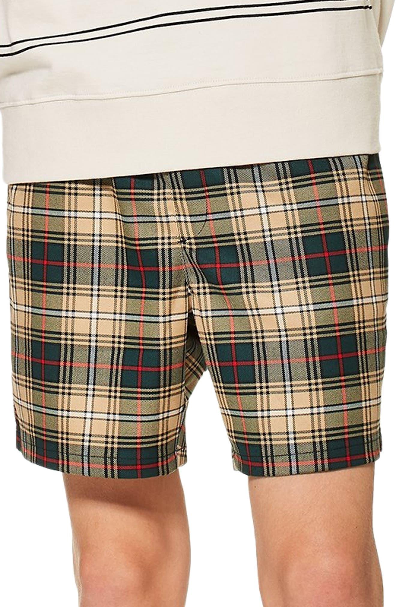 Check Shorts,                             Main thumbnail 1, color,                             BEIGE MULTI