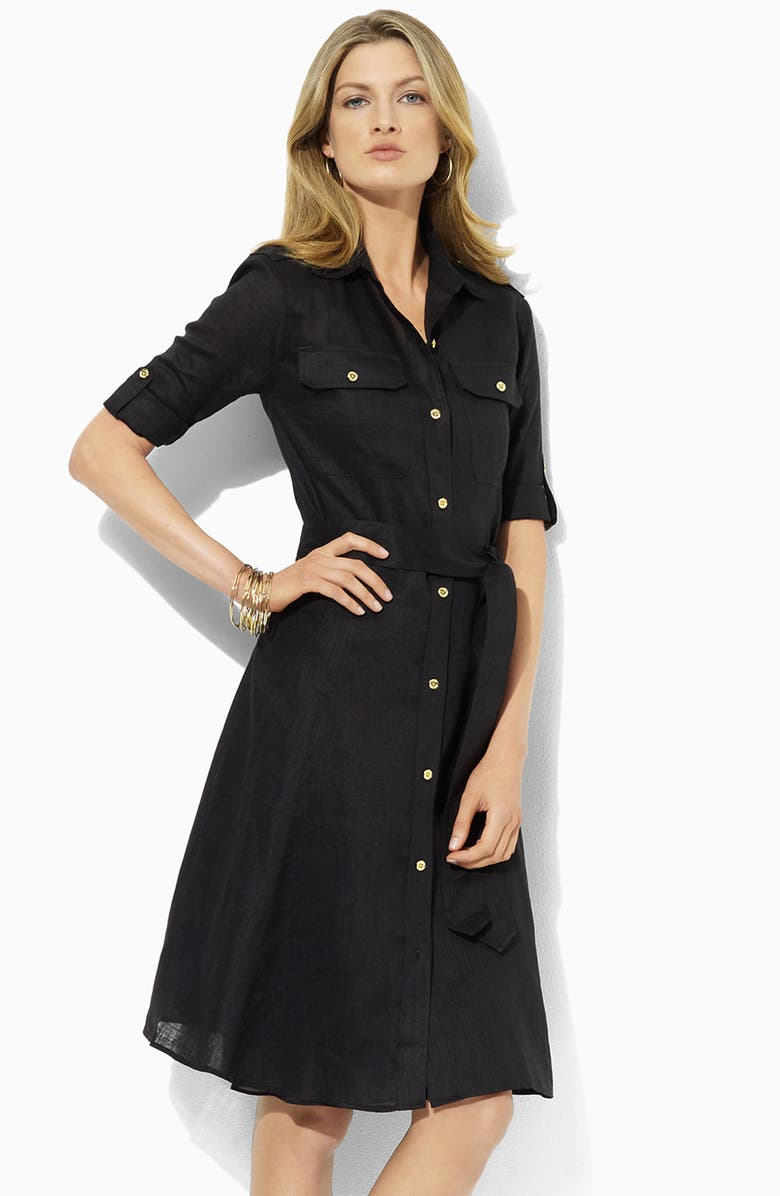 Lauren By Ralph Lauren Linen Shirtdress Petite Nordstrom