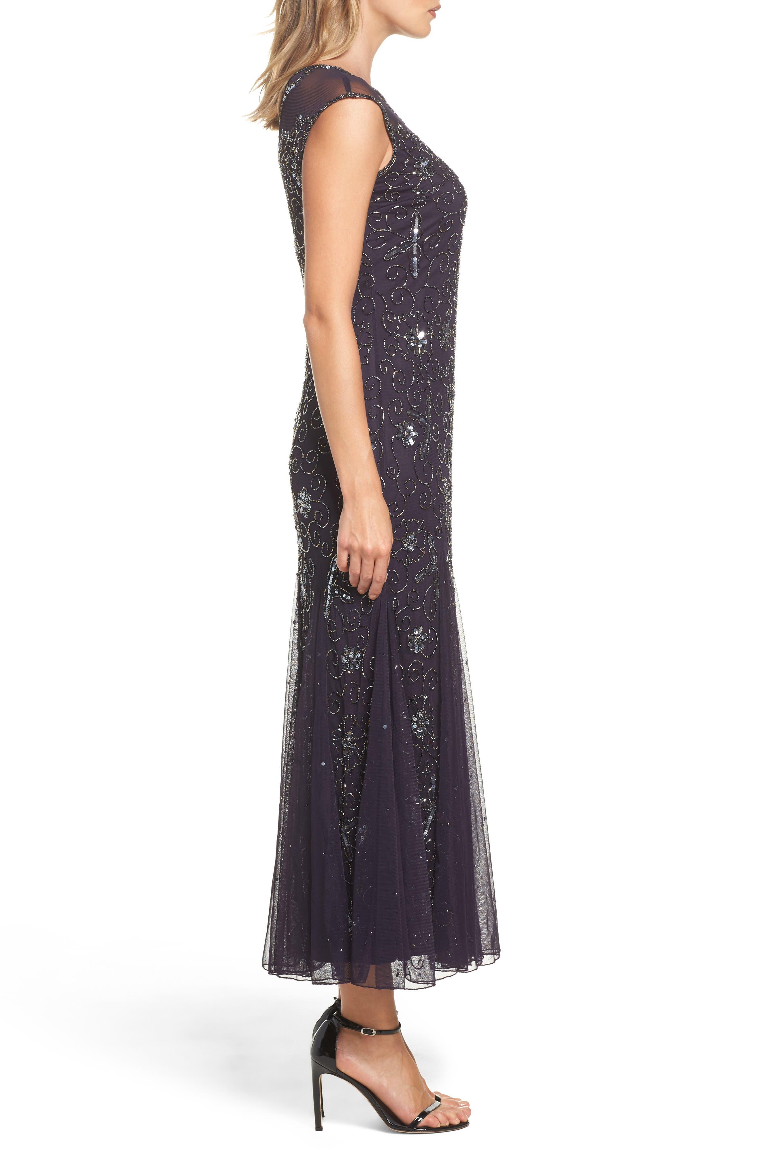 Embellished Midi Dress,                             Alternate thumbnail 3, color,                             503