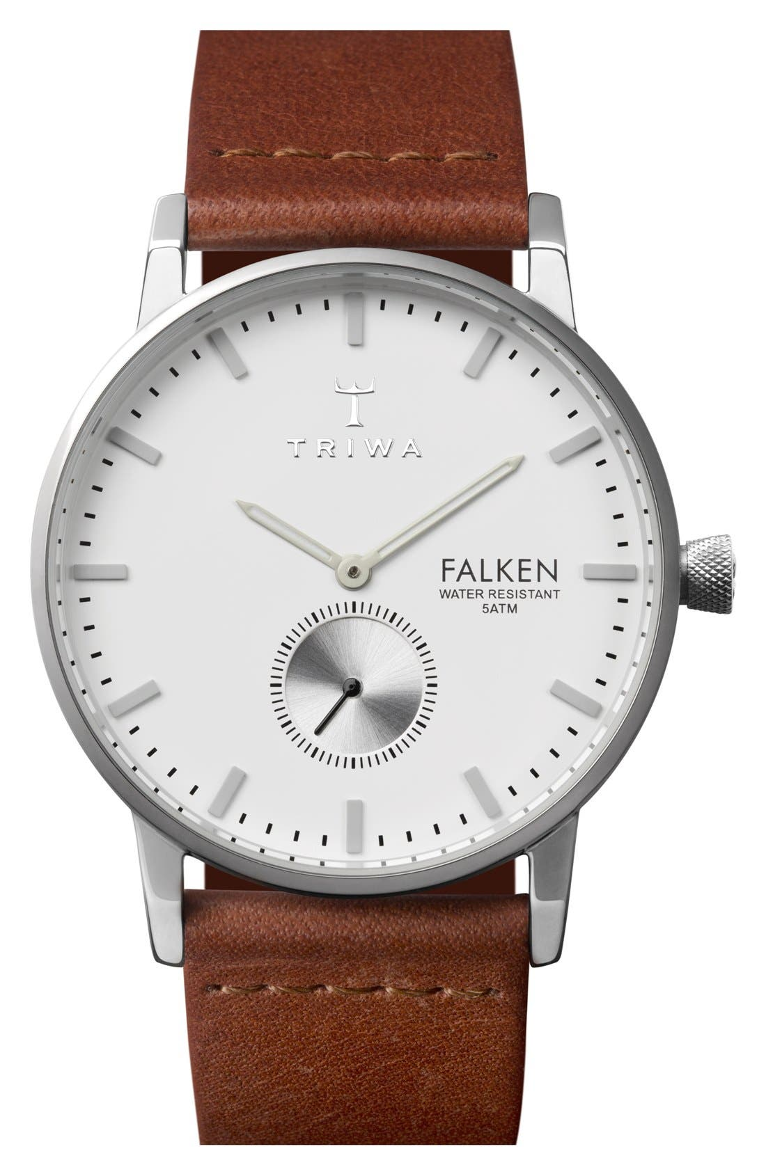 Ivory Falken Organic Leather Strap Watch, 38mm,                         Main,                         color, COGNAC/ SILVER/ WHITE