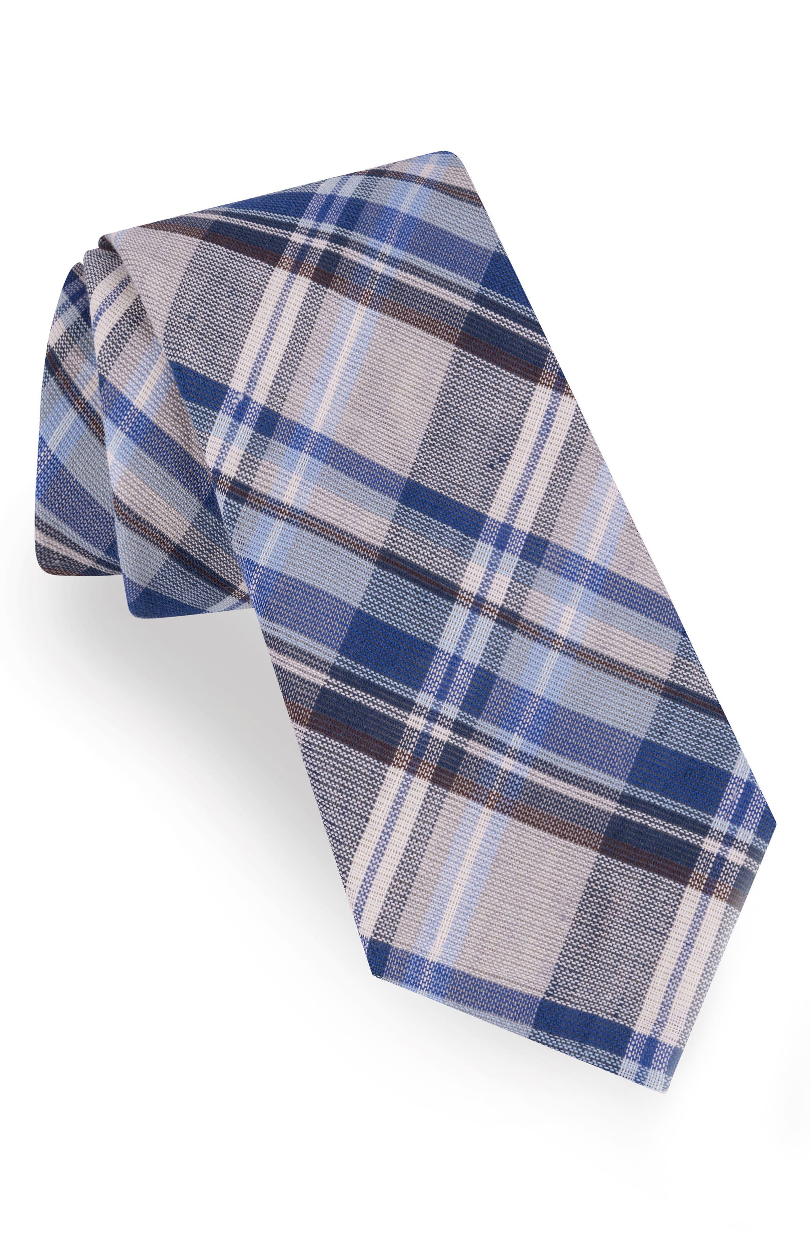Plaid Cotton & Linen Tie,                         Main,                         color, 020