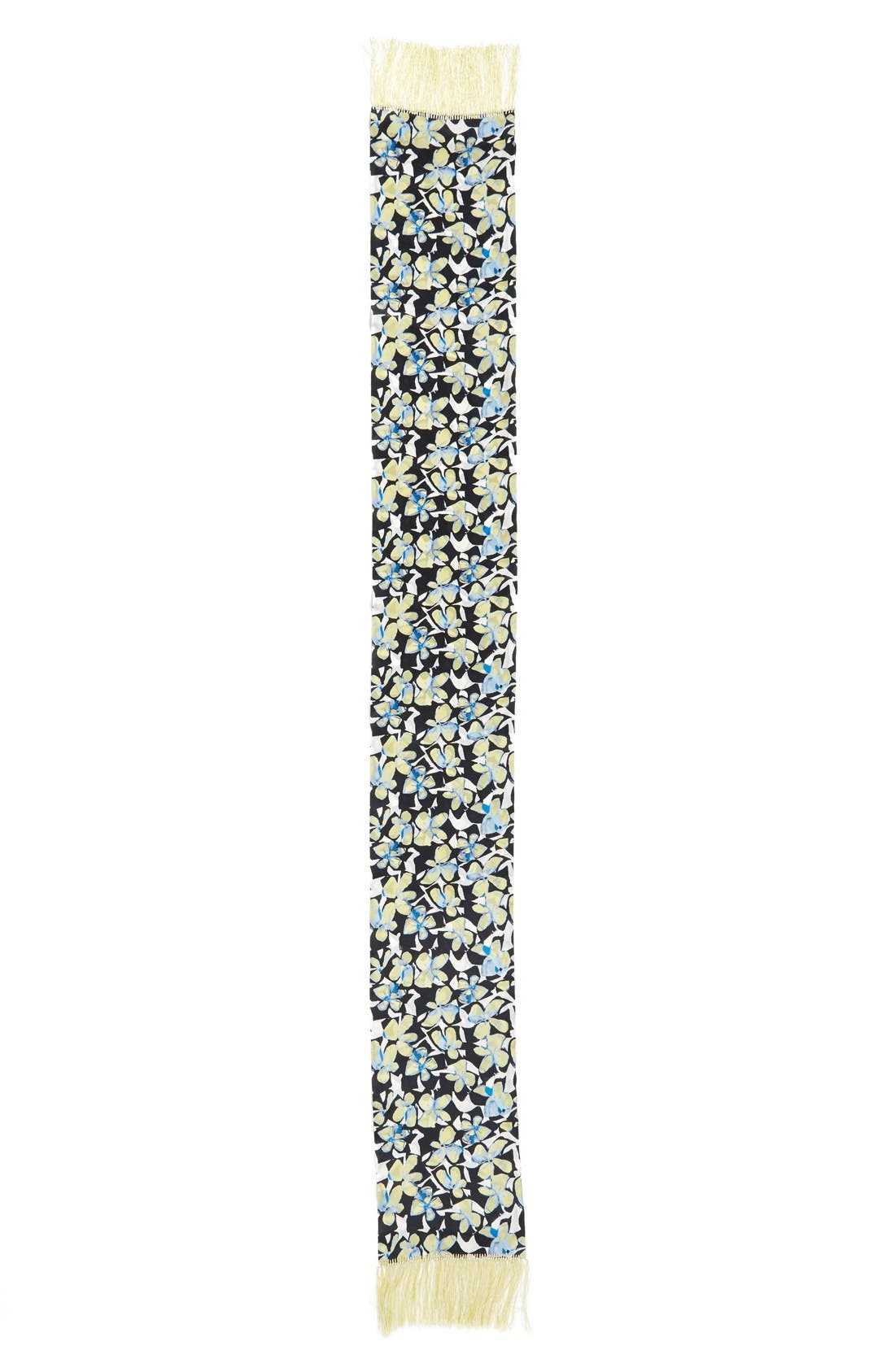 Floral Print Fringe Silk Scarf,                             Alternate thumbnail 3, color,                             700