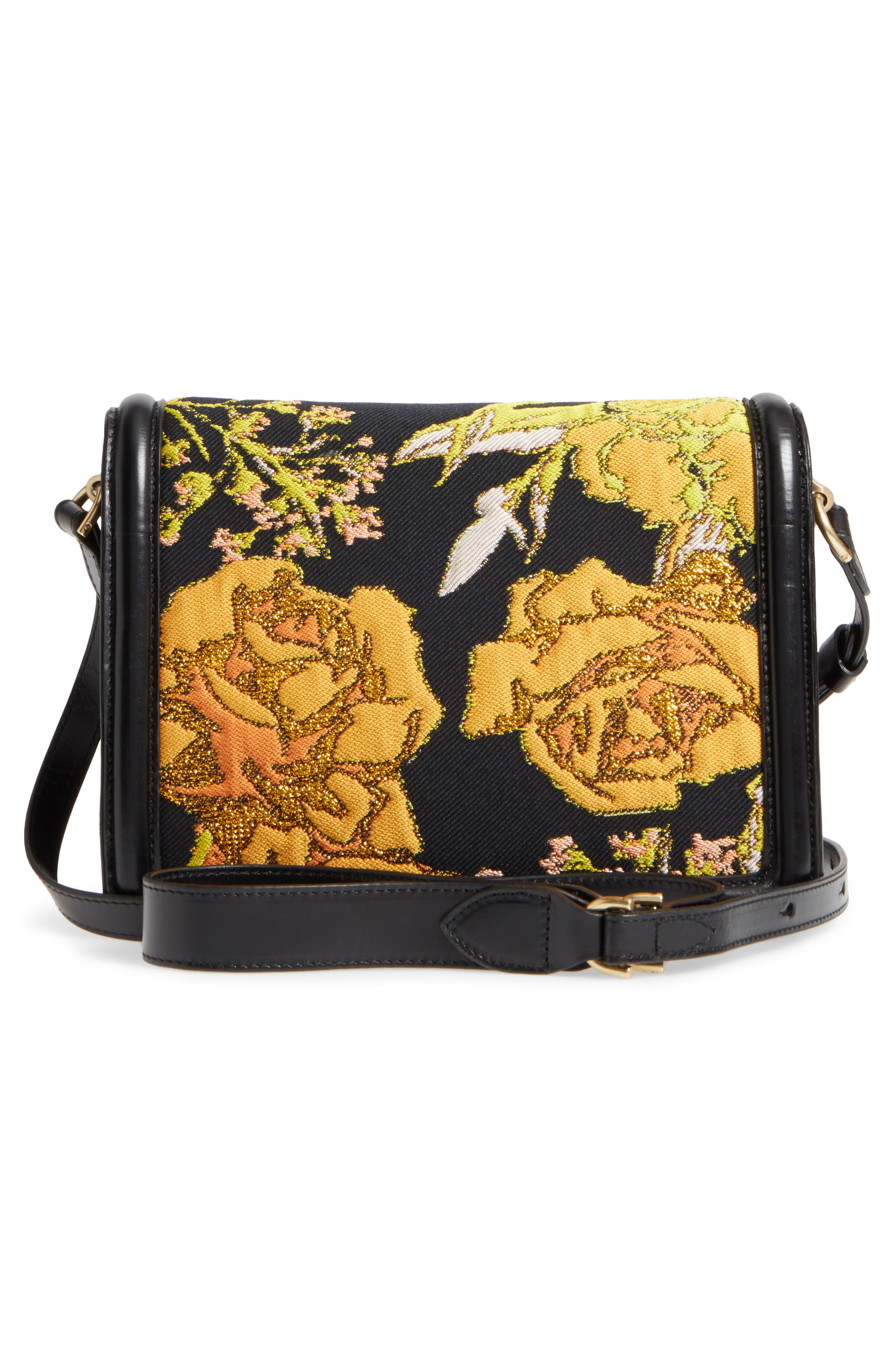 DRIES VAN NOTEN,                             Floral Jacquard & Leather Crossbody Bag,                             Alternate thumbnail 3, color,                             700
