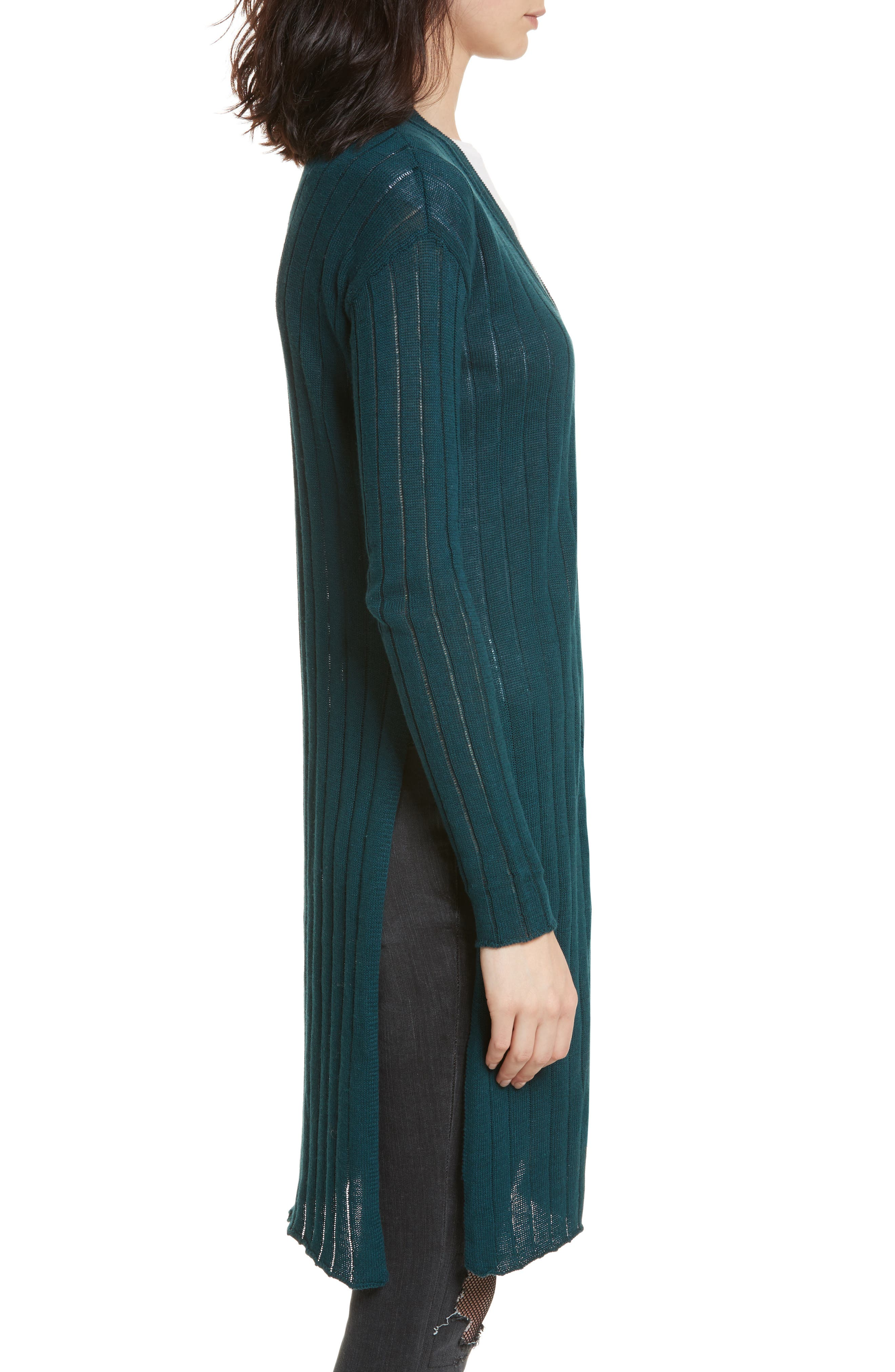 FREE PEOPLE,                             Ribby Long Cardigan,                             Alternate thumbnail 3, color,                             440