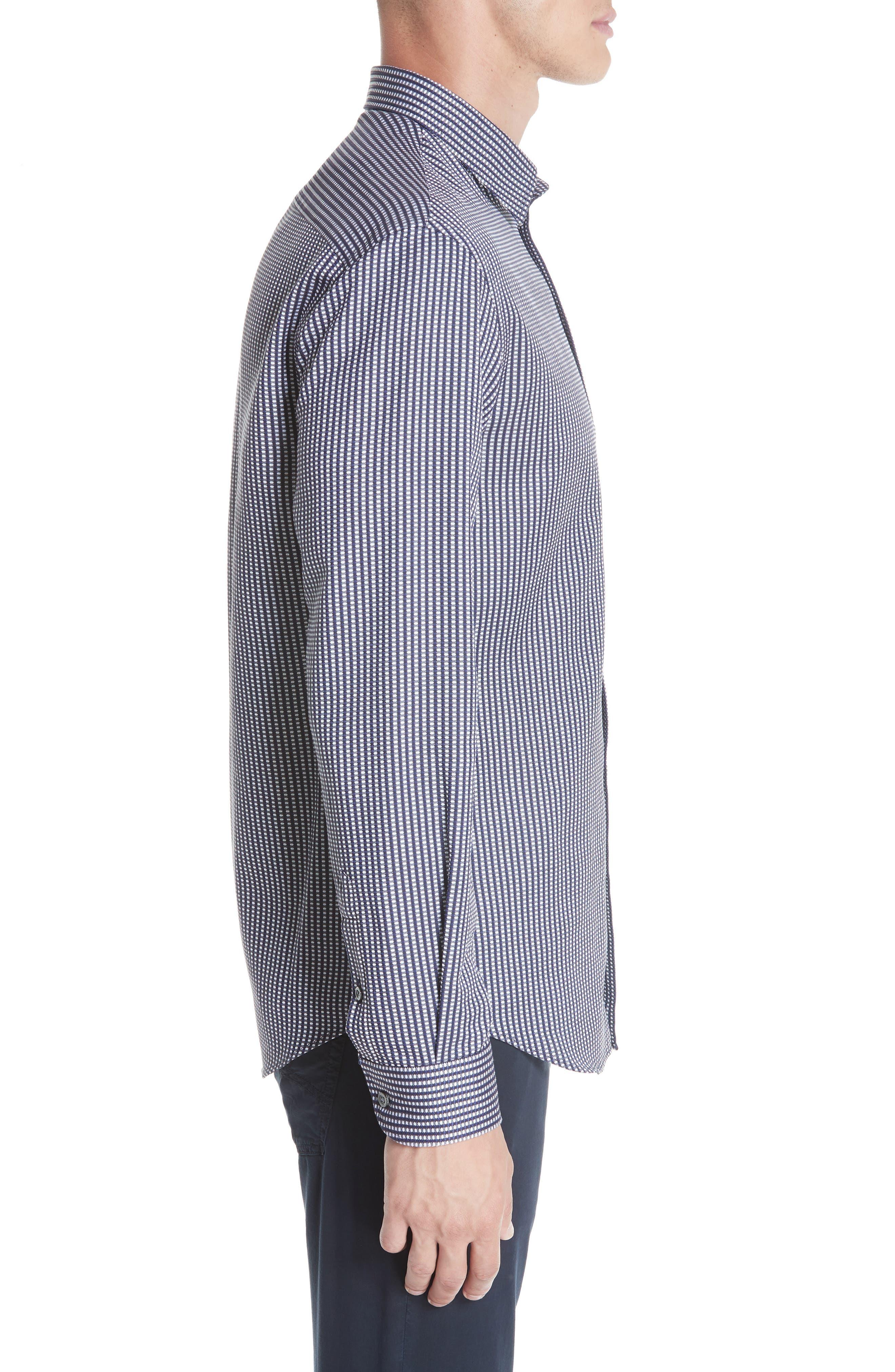 Regular Fit Solid Sport Shirt,                             Alternate thumbnail 3, color,                             BLUE MULTI