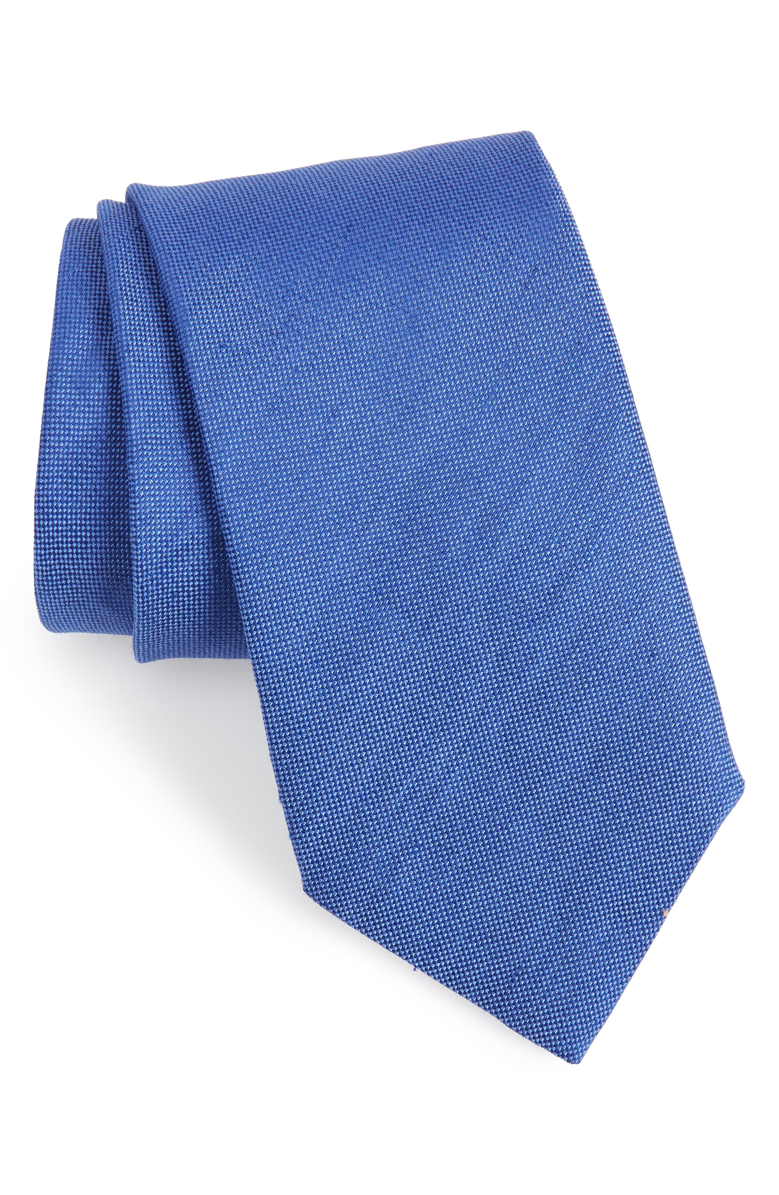 Solid Linen & Silk Tie,                         Main,                         color, 423