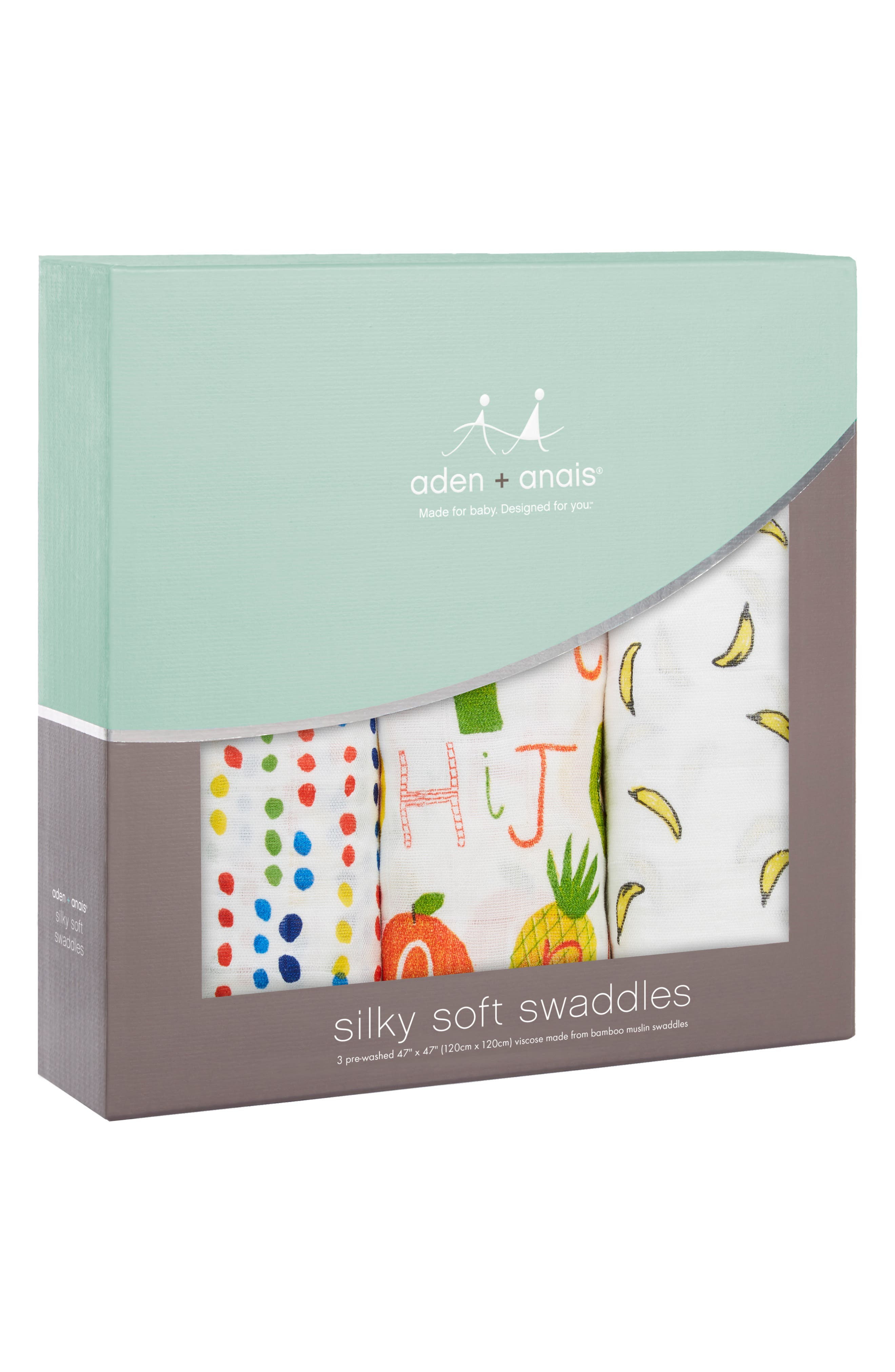 3-Pack Silky Soft Swaddling Cloths,                             Alternate thumbnail 3, color,                             TUTTI FRUTTI