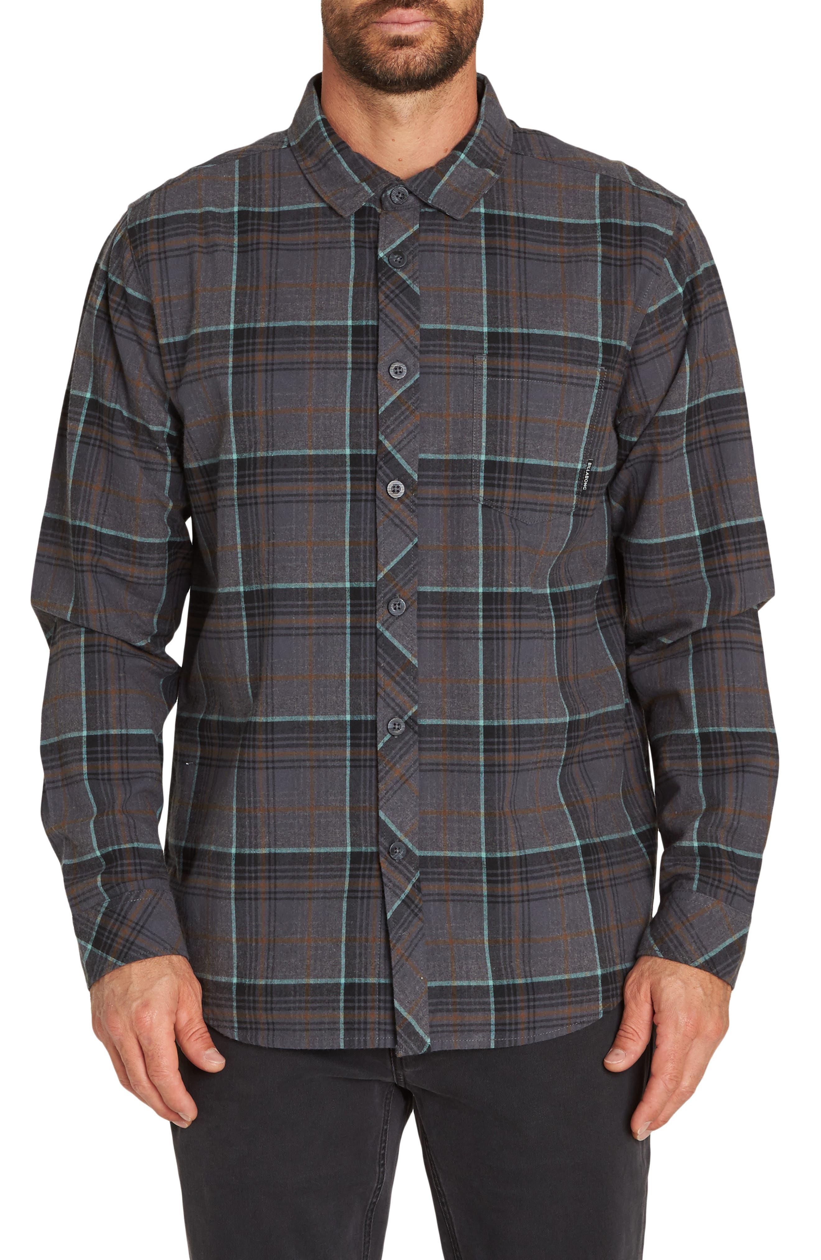 Coastline Plaid Flannel Shirt,                             Main thumbnail 1, color,                             BLACK