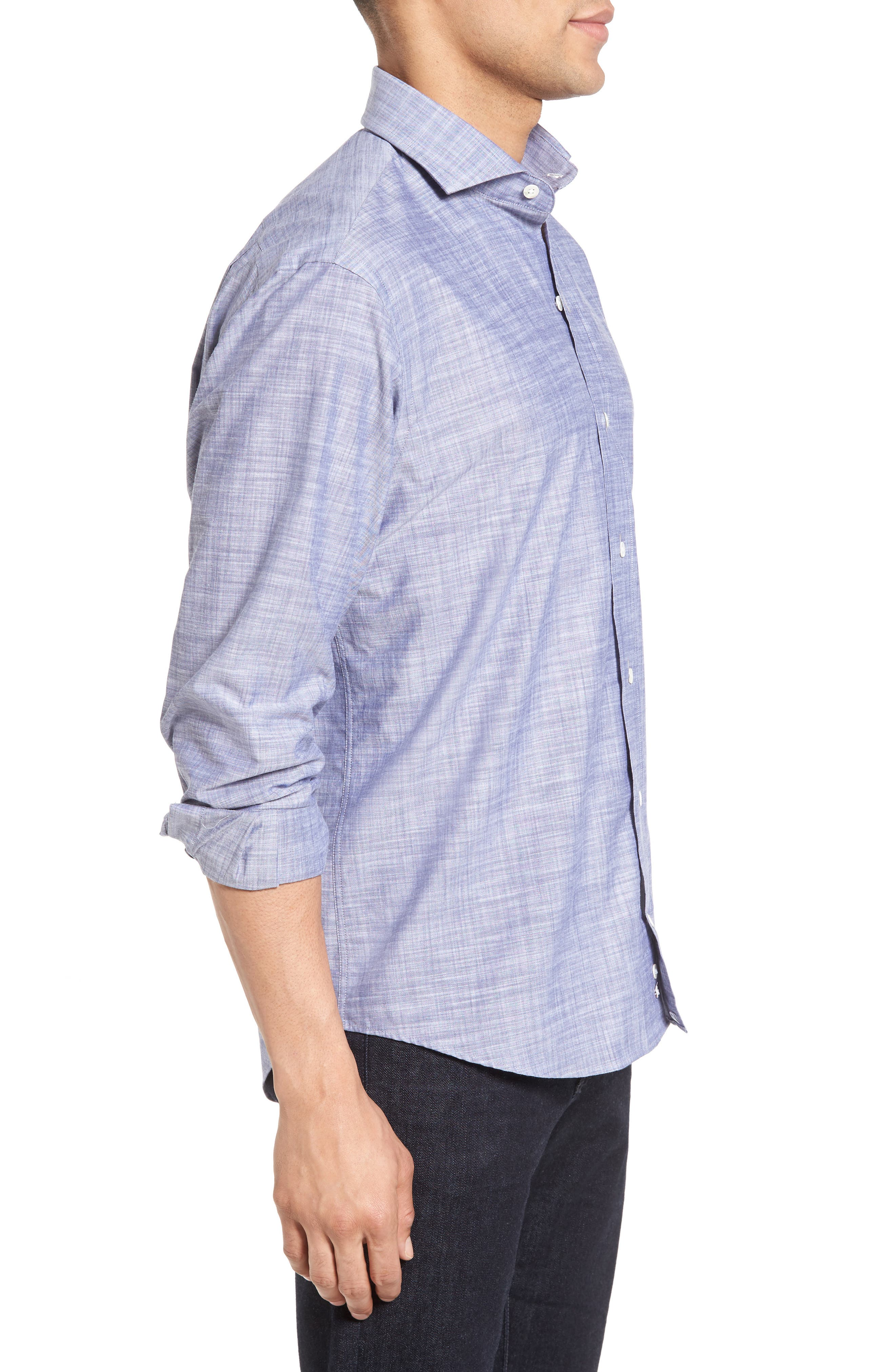 The McDaniel Classic Fit Chambray Sport Shirt,                             Alternate thumbnail 5, color,