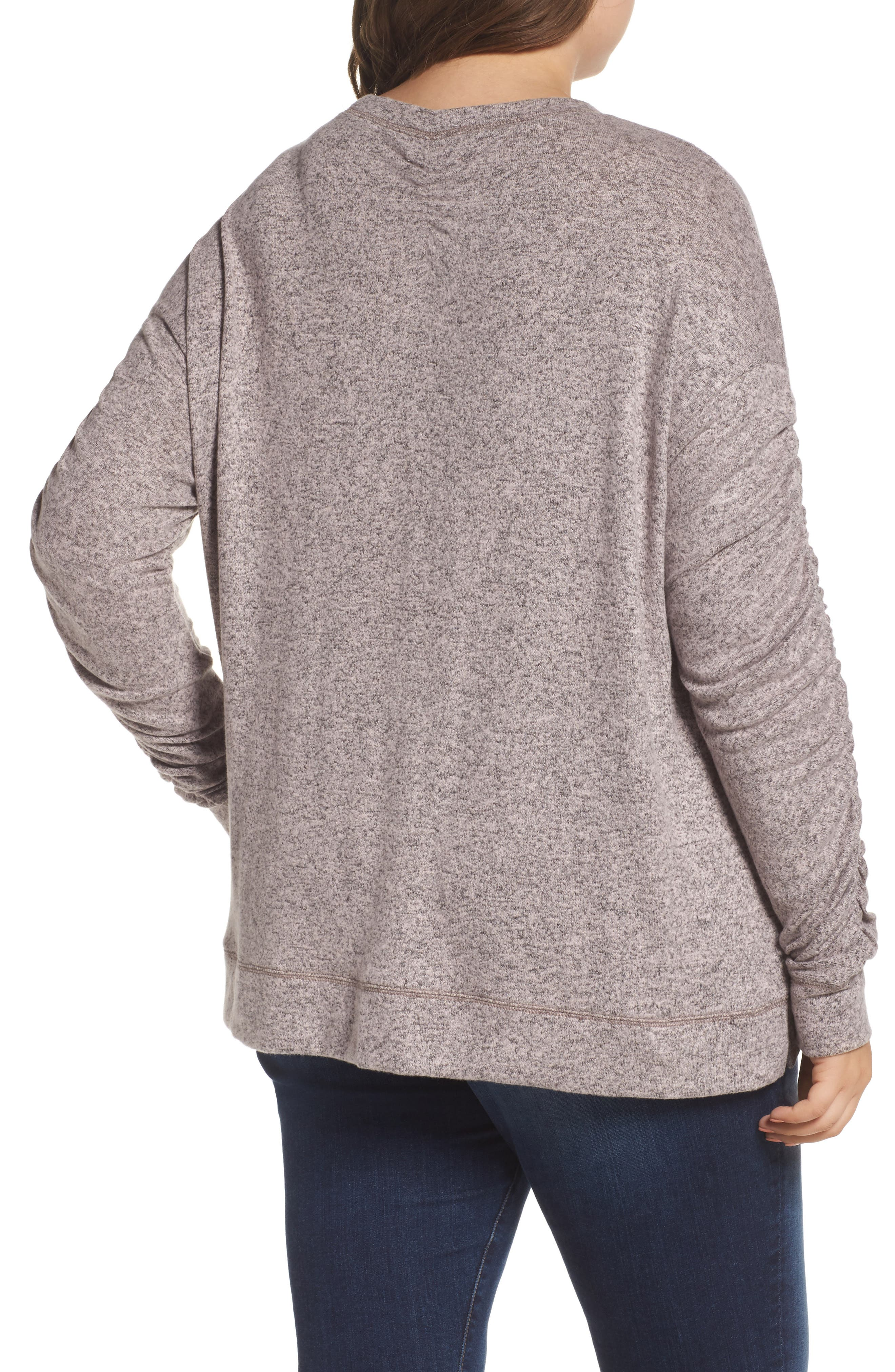 Ruched Sleeve Cozy Pullover,                             Alternate thumbnail 4, color,