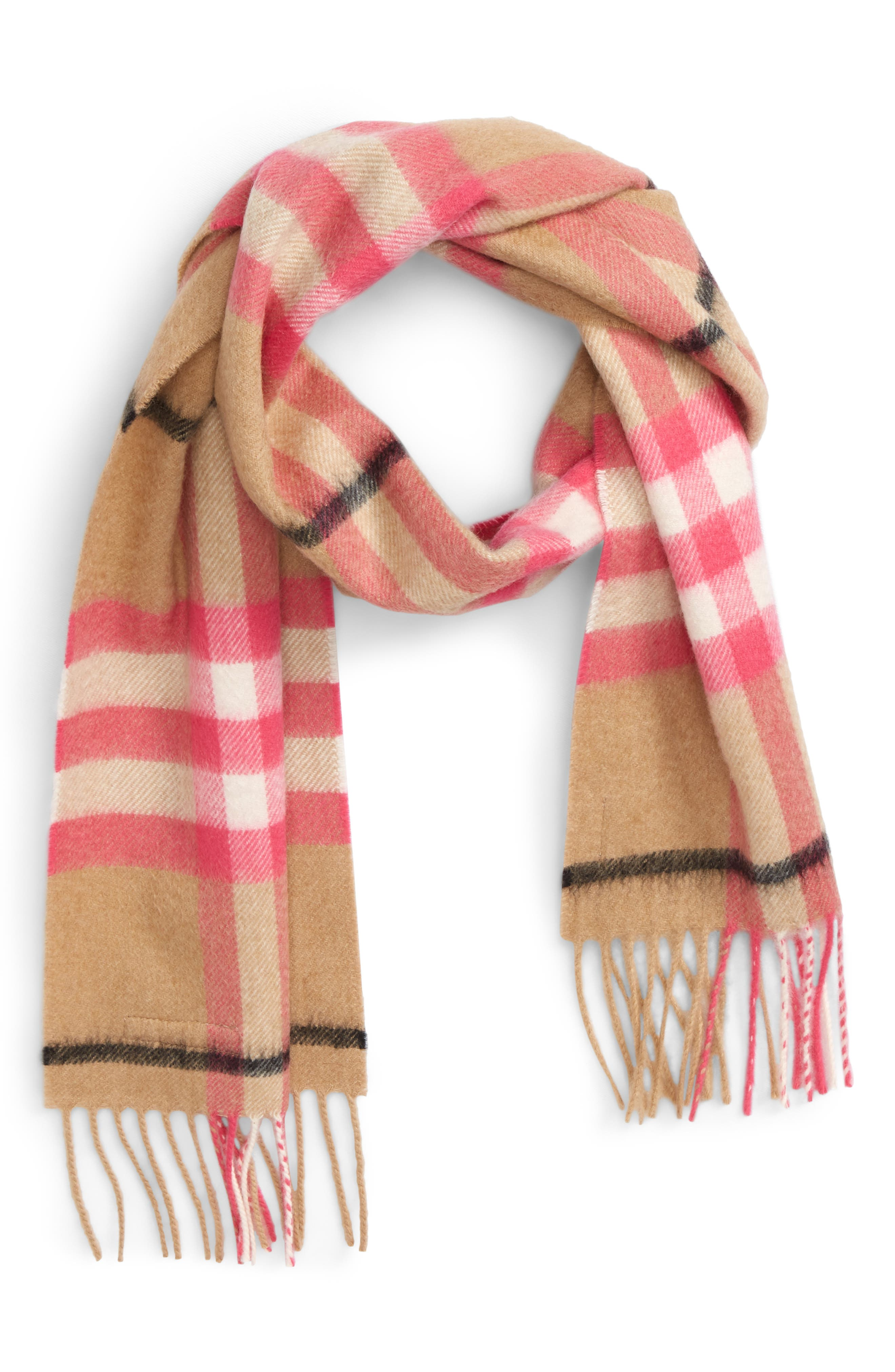Exploded Giant Check Fringe Cashmere Scarf,                             Main thumbnail 2, color,