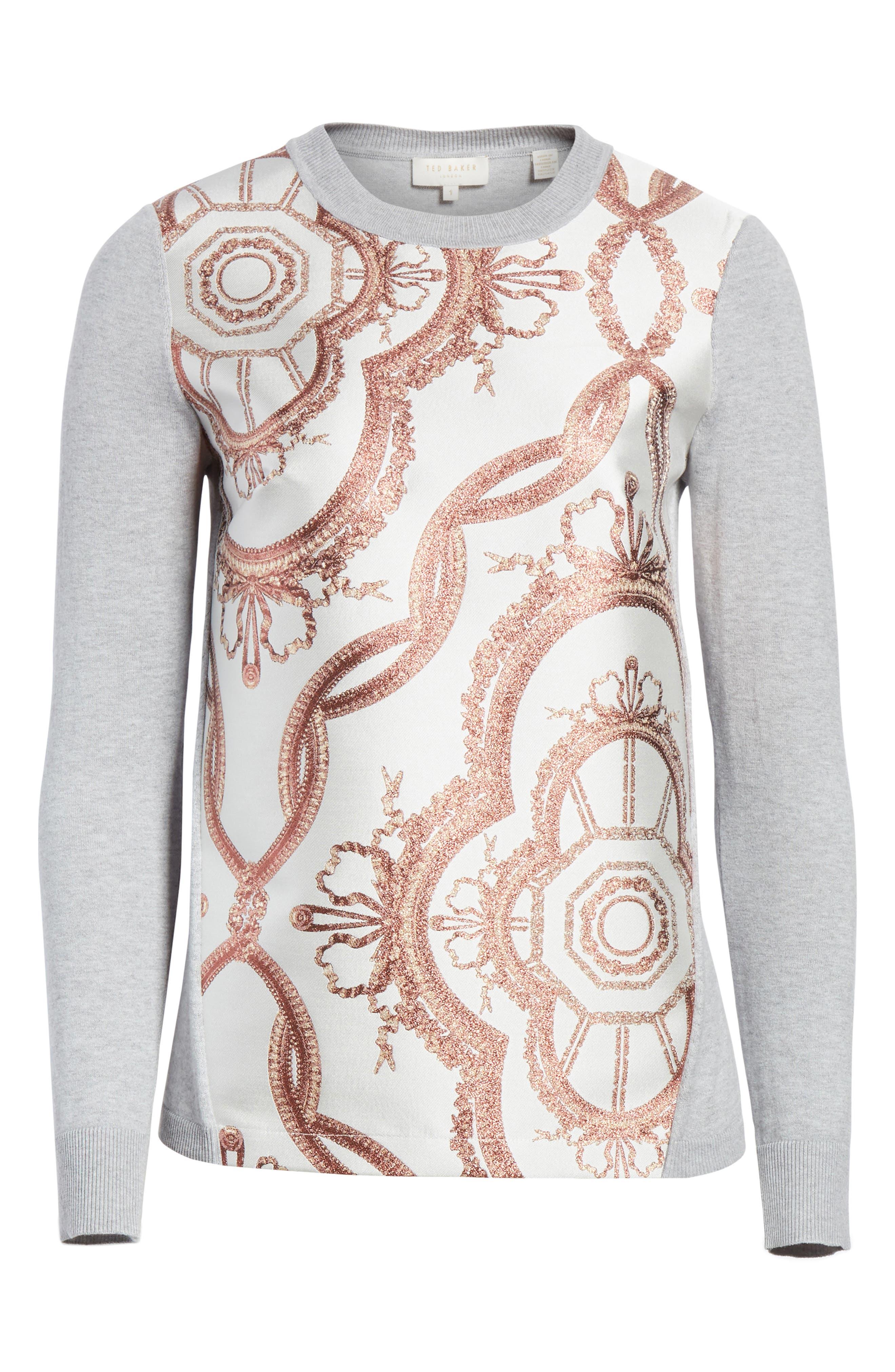 Versailles Jacquard Front Sweater,                             Alternate thumbnail 6, color,                             050