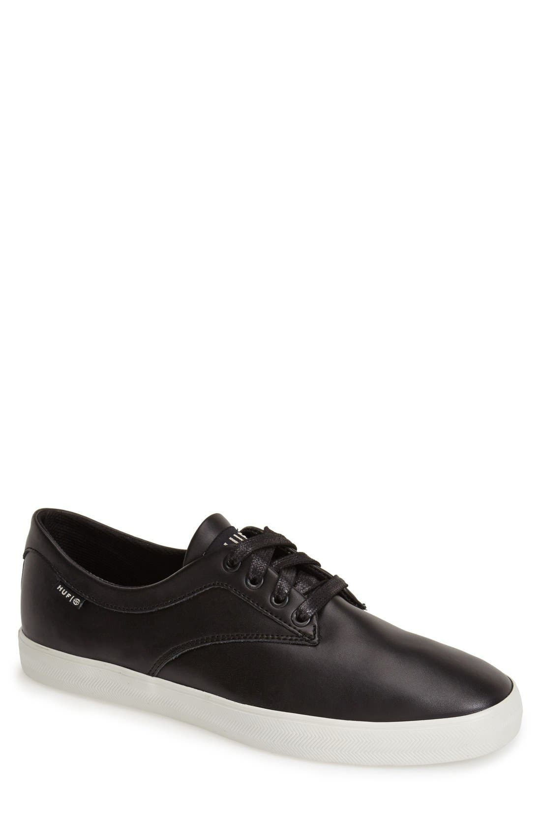 HUF 'Sutter' Leather Sneaker, Main, color, 001
