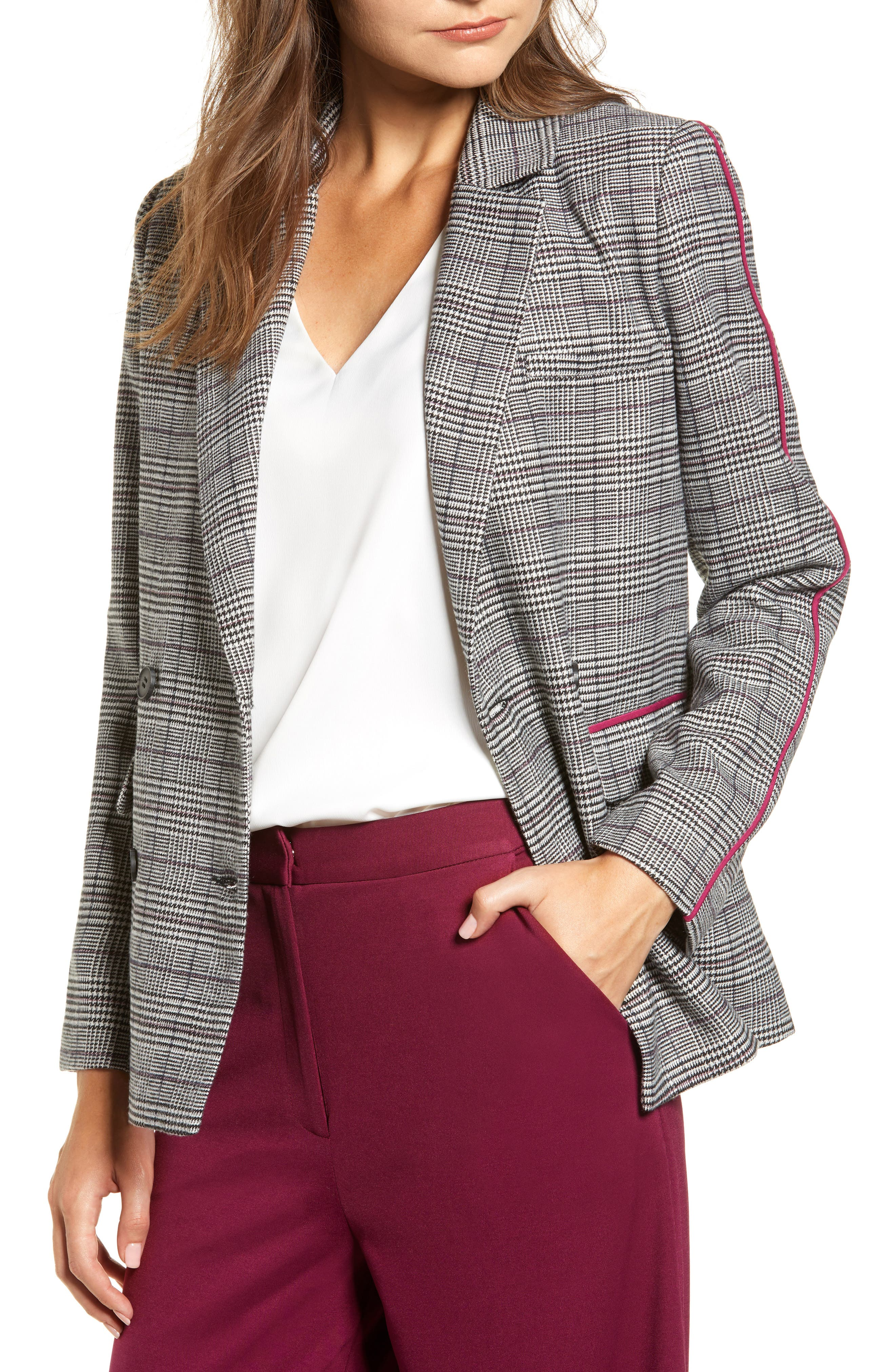 Chriselle Lim Bianca Piped Houndstooth Blazer,                         Main,                         color, GREY PLAID