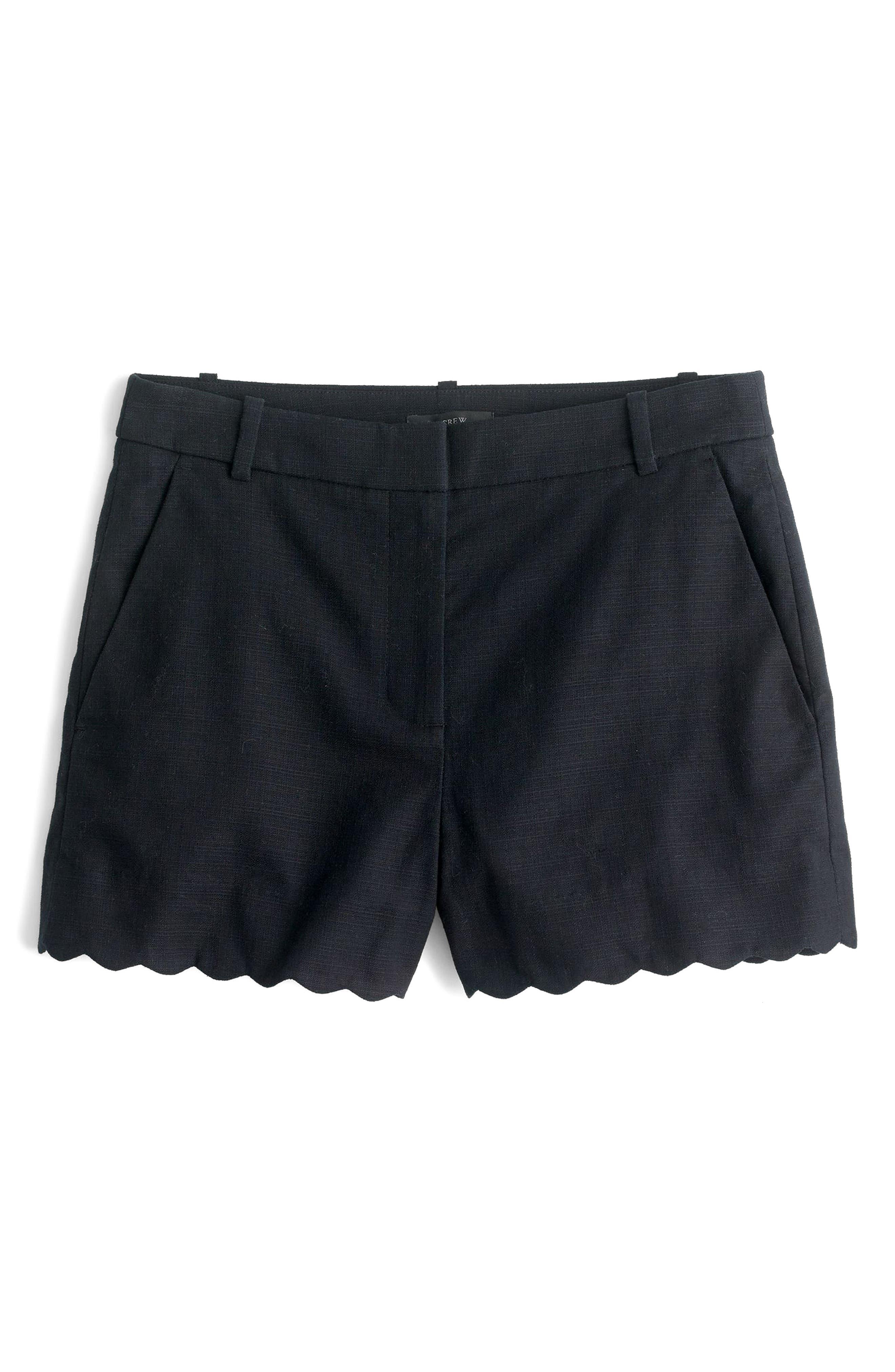 Fiesta Scallop Hem Stretch Cotton Shorts,                             Main thumbnail 1, color,                             001