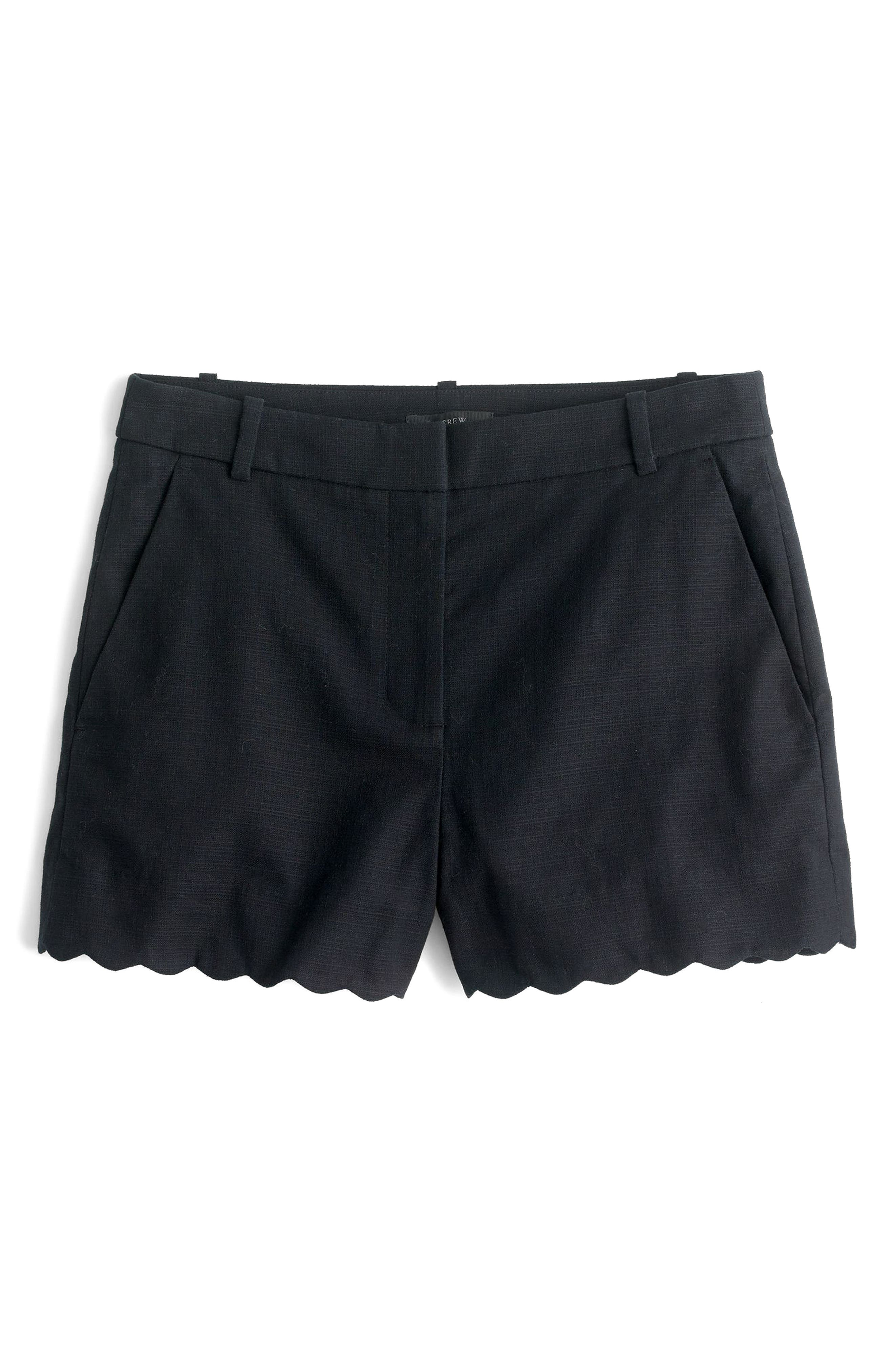 Fiesta Scallop Hem Stretch Cotton Shorts,                         Main,                         color, 001