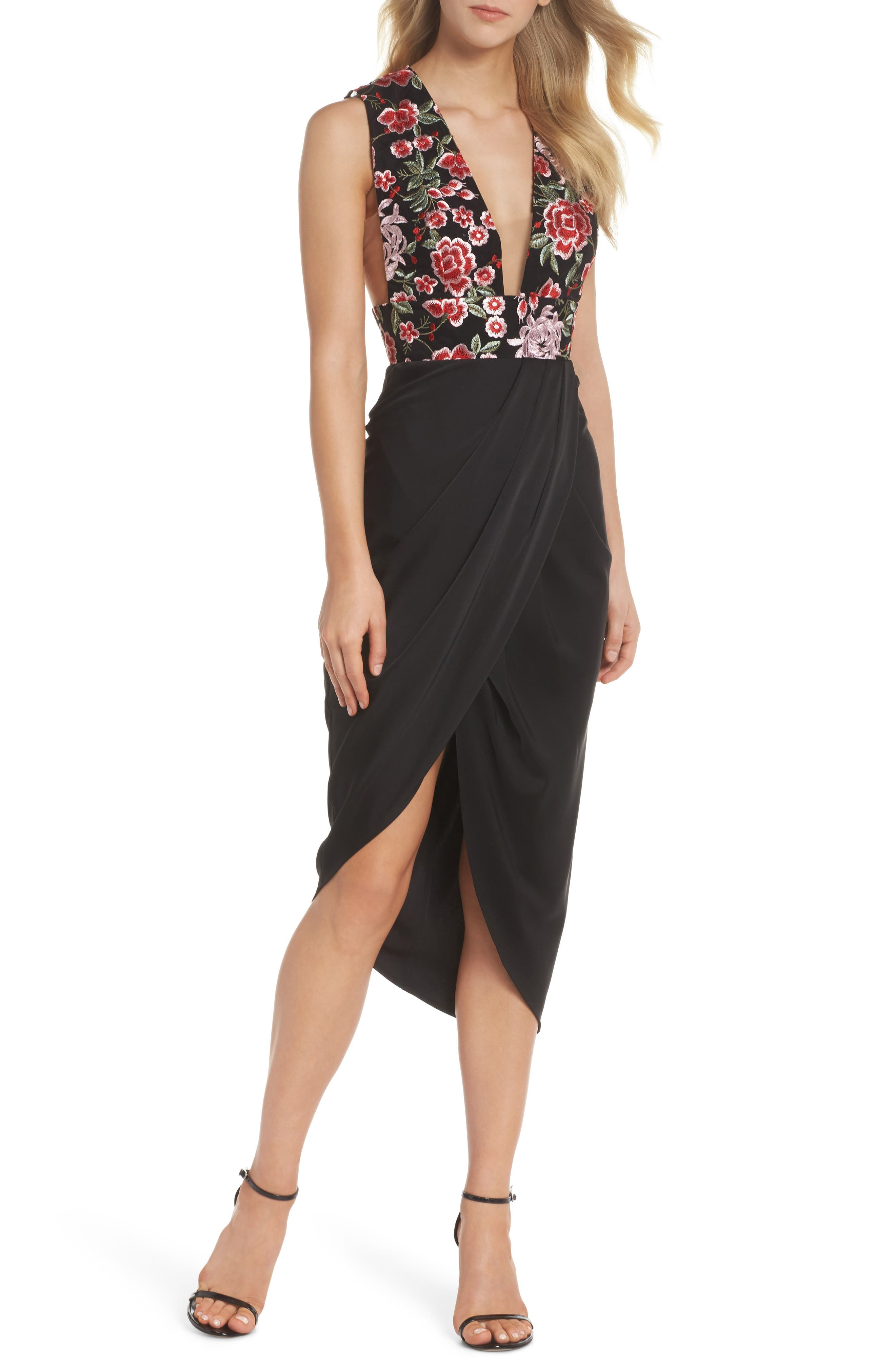 Mila Embroidered Tulip Skirt Dress,                         Main,                         color, 001