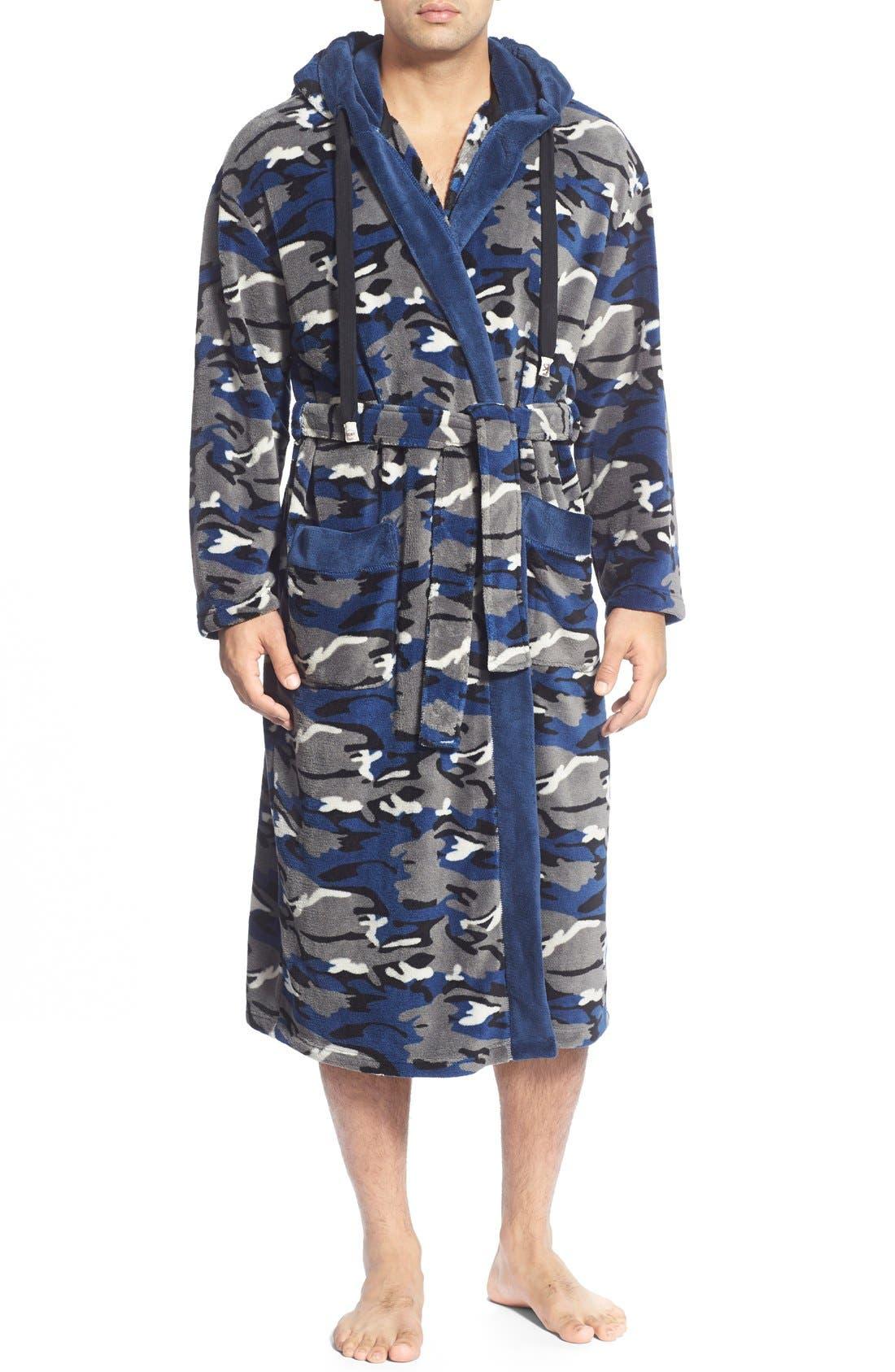 Camo Fleece Robe,                             Main thumbnail 1, color,                             411