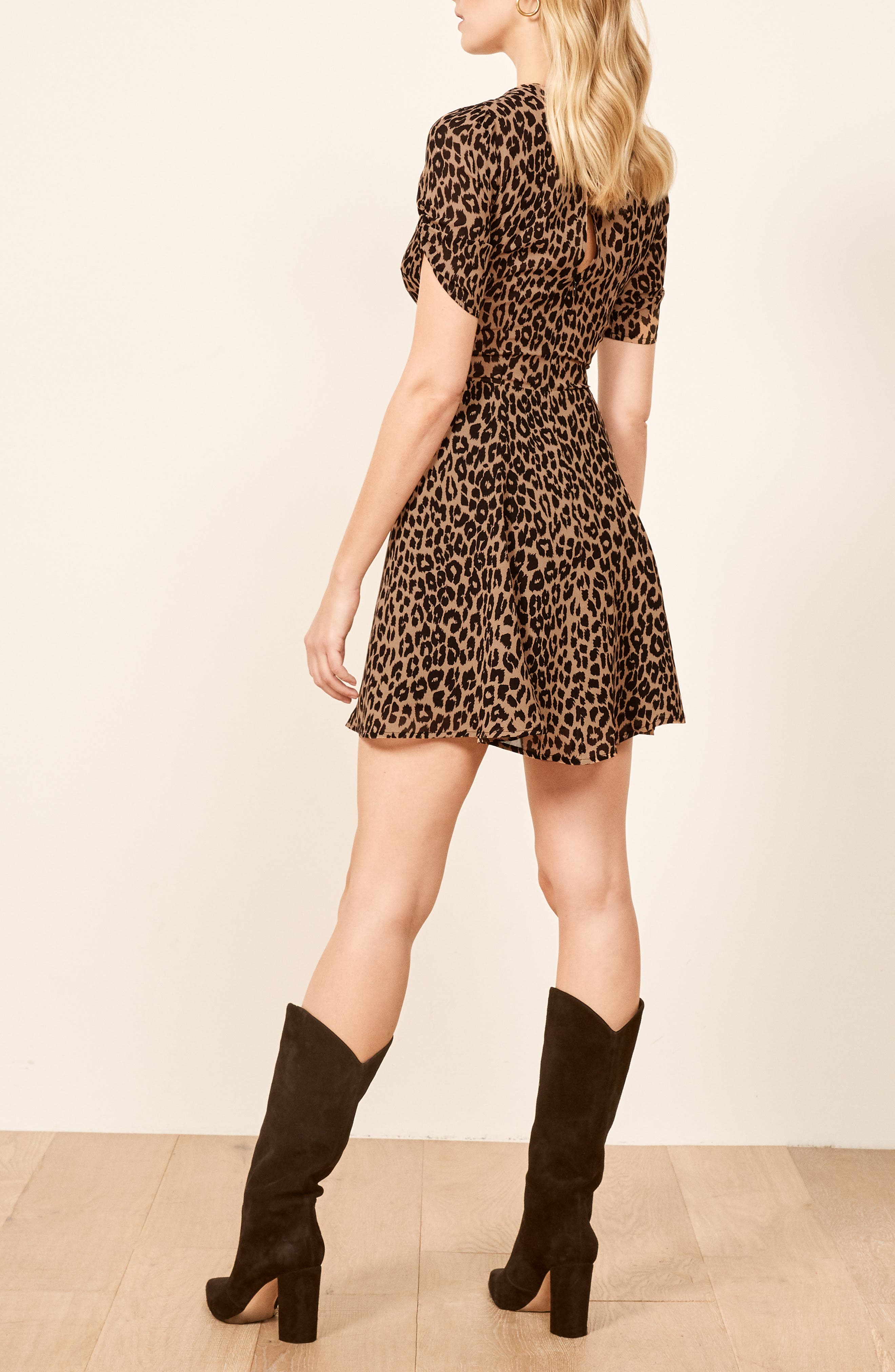 REFORMATION,                             Gracie Ruched Sleeve Minidress,                             Alternate thumbnail 3, color,                             COUGAR