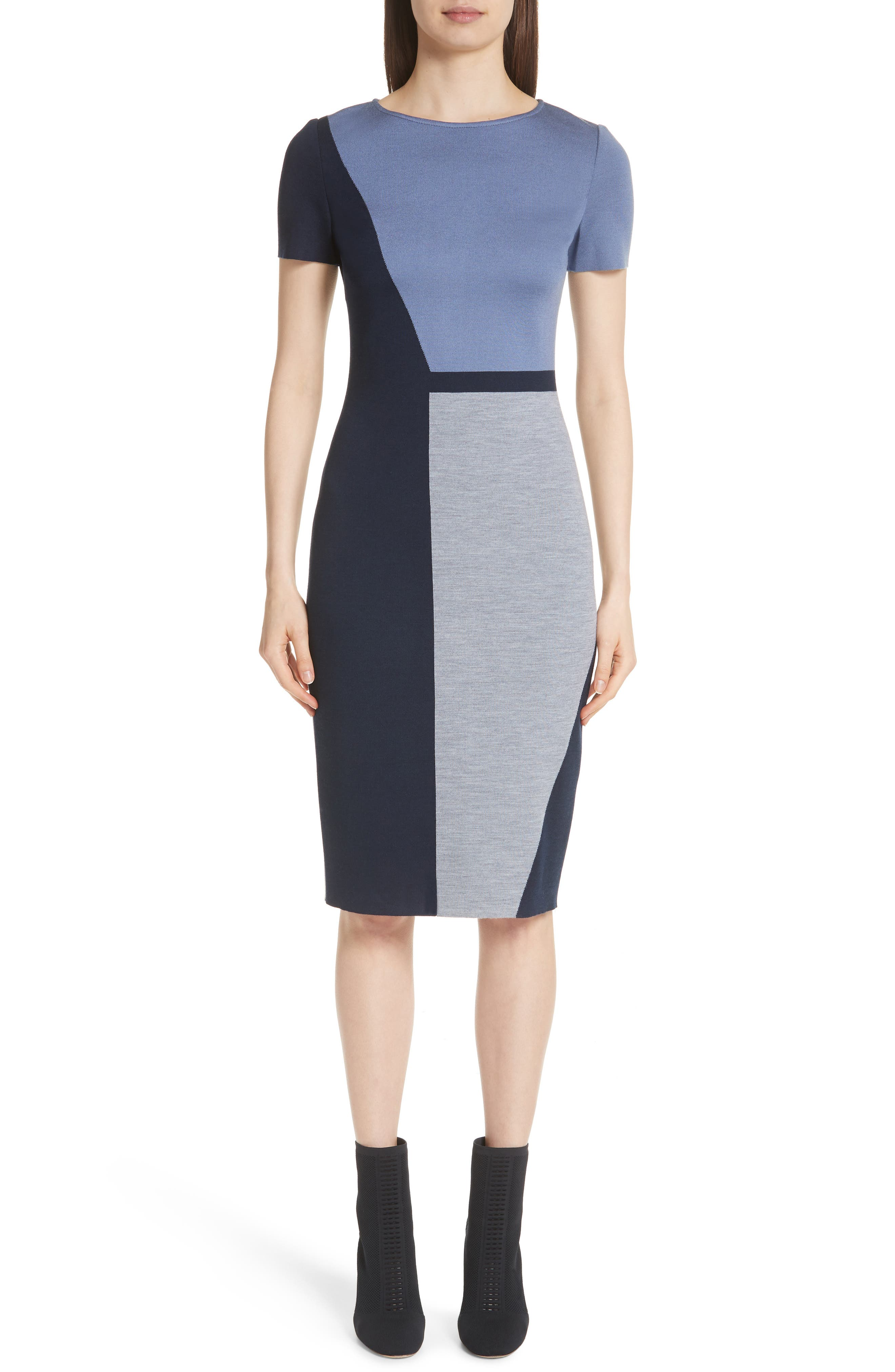 Slanted Colorblock Milano Knit Sheath Dress in Chambray Multi