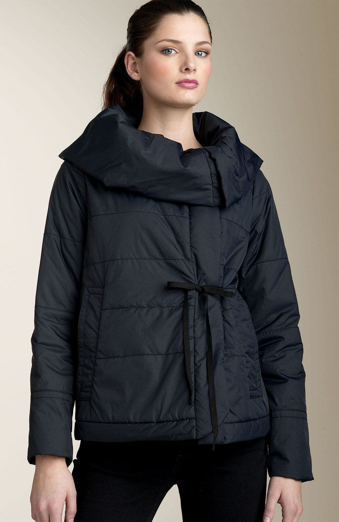 Quilted Nylon Jacket,                             Main thumbnail 1, color,                             BLK