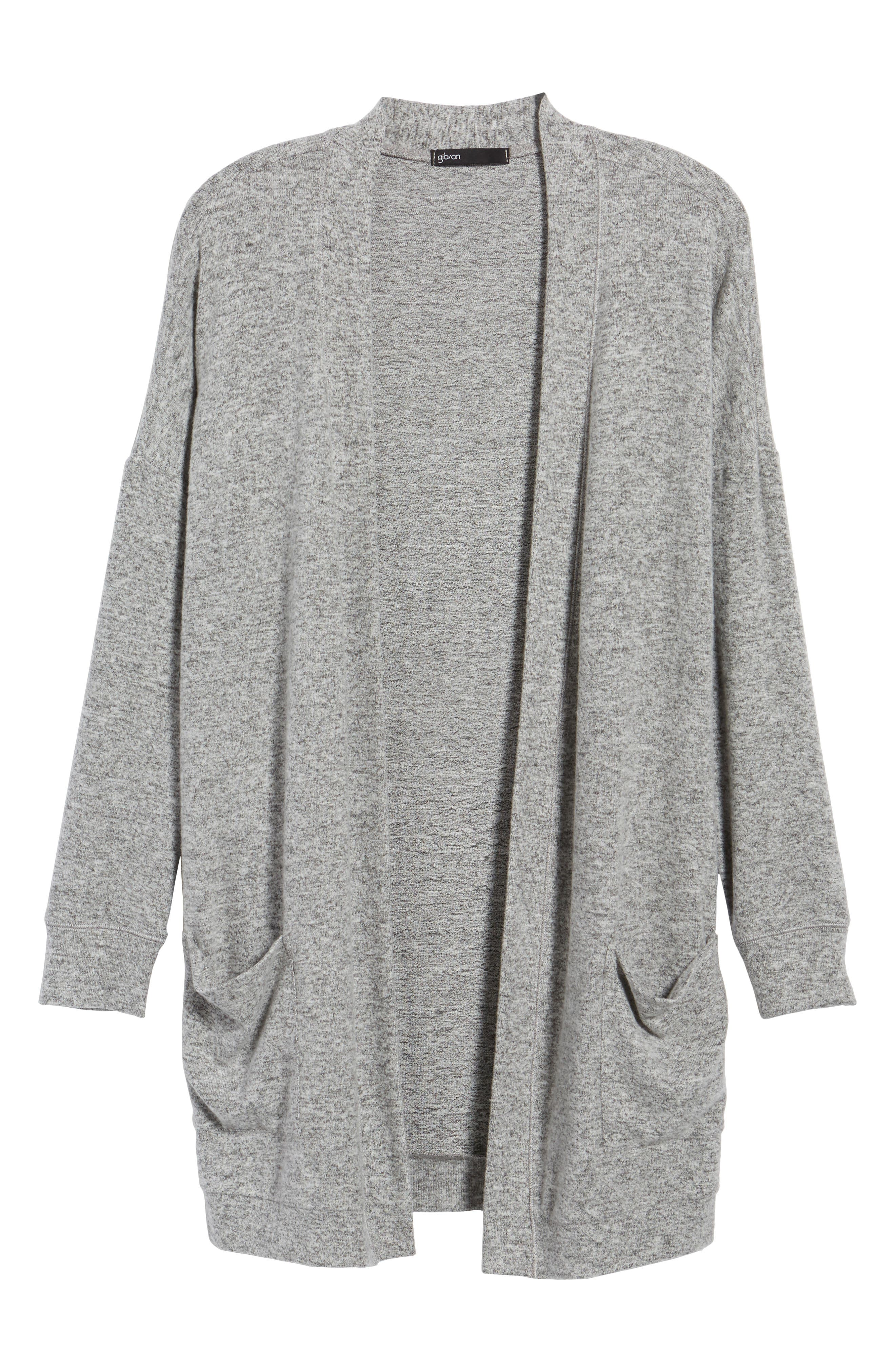 Rib Knit Cardigan,                             Alternate thumbnail 6, color,                             LIGHT HEATHER GREY
