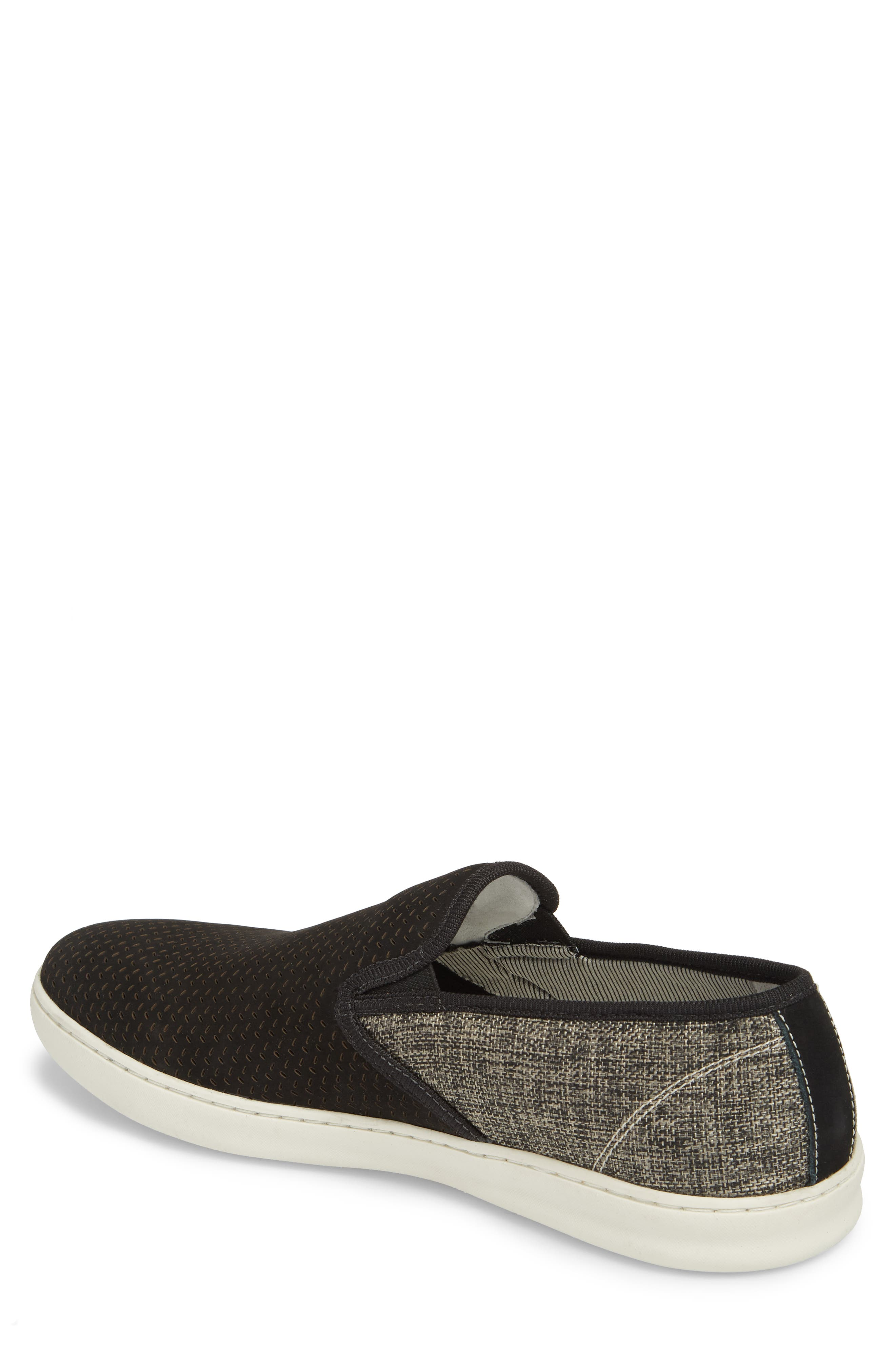 Malibu Perforated Loafer,                             Alternate thumbnail 2, color,                             BLACK LEATHER / GREY CANVAS