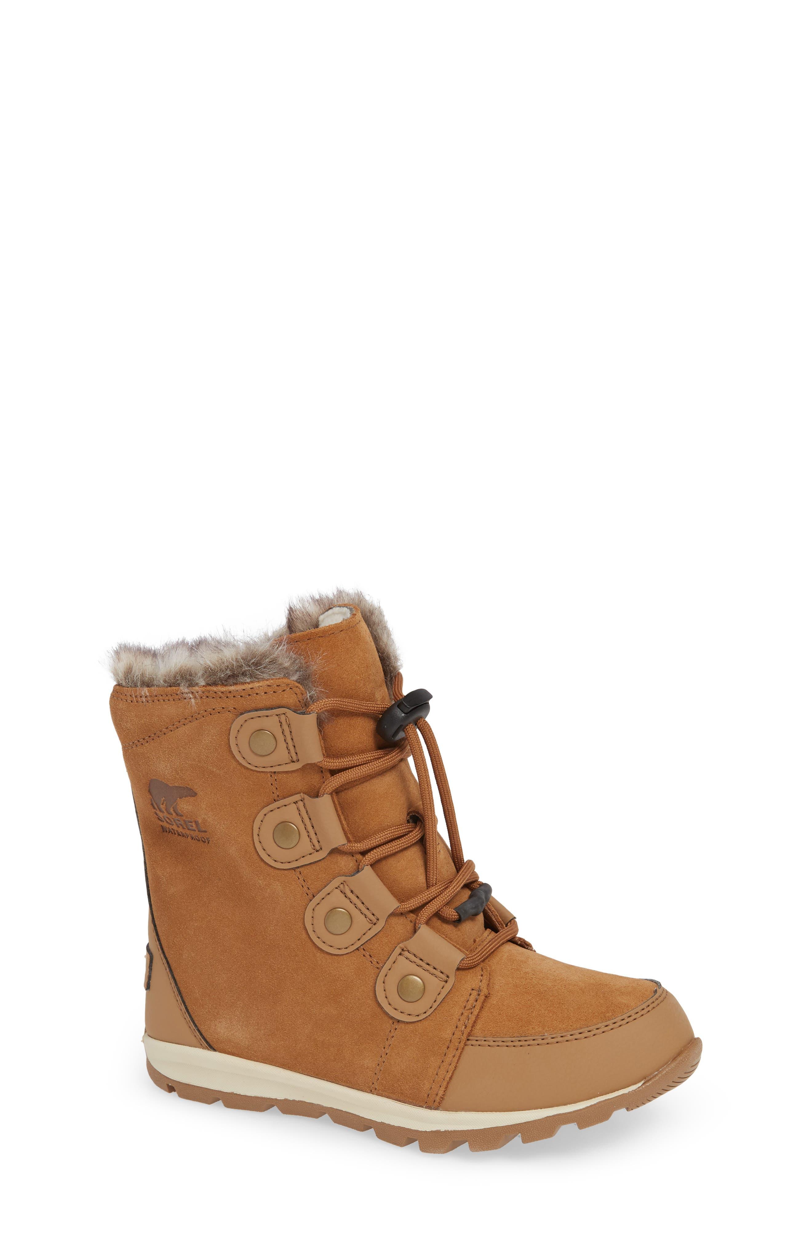 Whitney Suede Waterproof Faux Fur Boot,                             Main thumbnail 1, color,                             ELK/ NATURAL