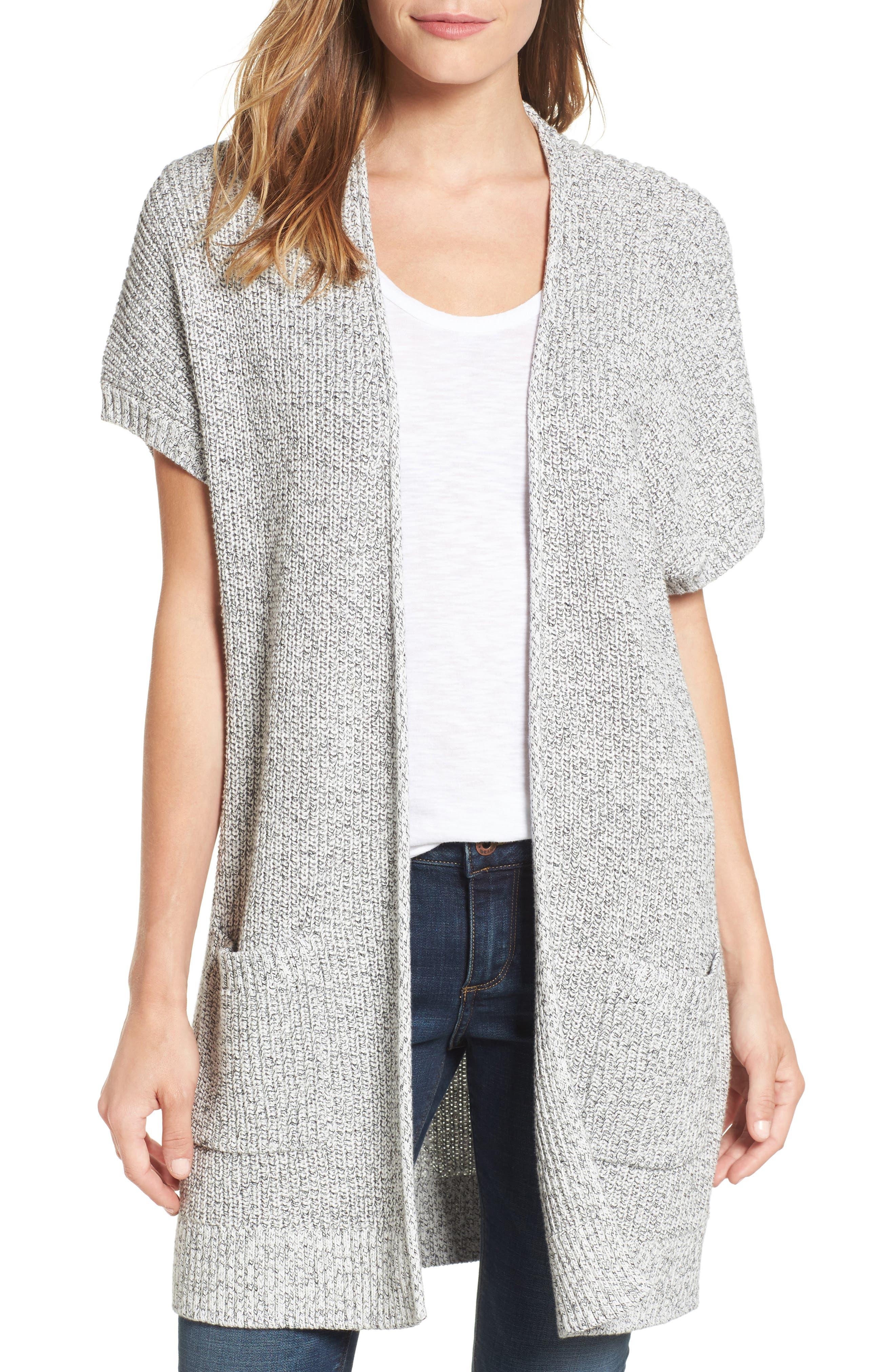 Shaker Stitch Open Front Cardigan,                             Main thumbnail 3, color,