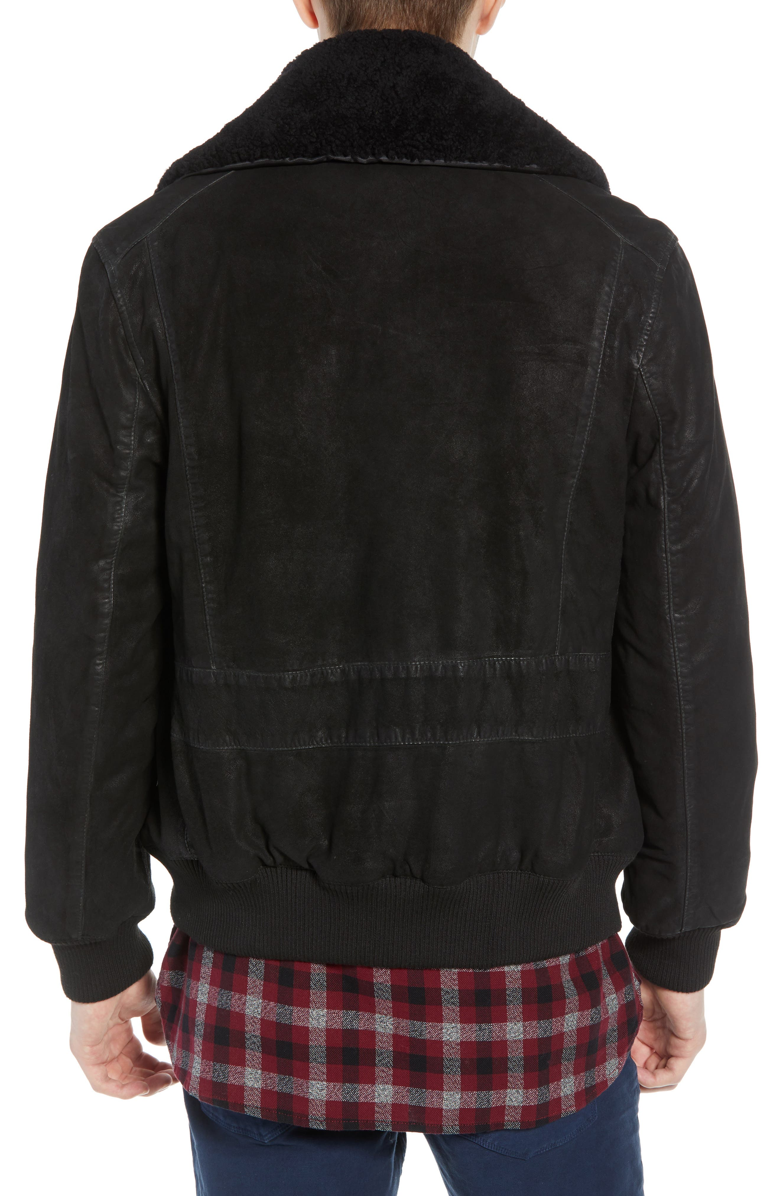 Washed Sheepskin Leather Jacket with Faux Shearling Trim,                             Alternate thumbnail 2, color,                             BLACK