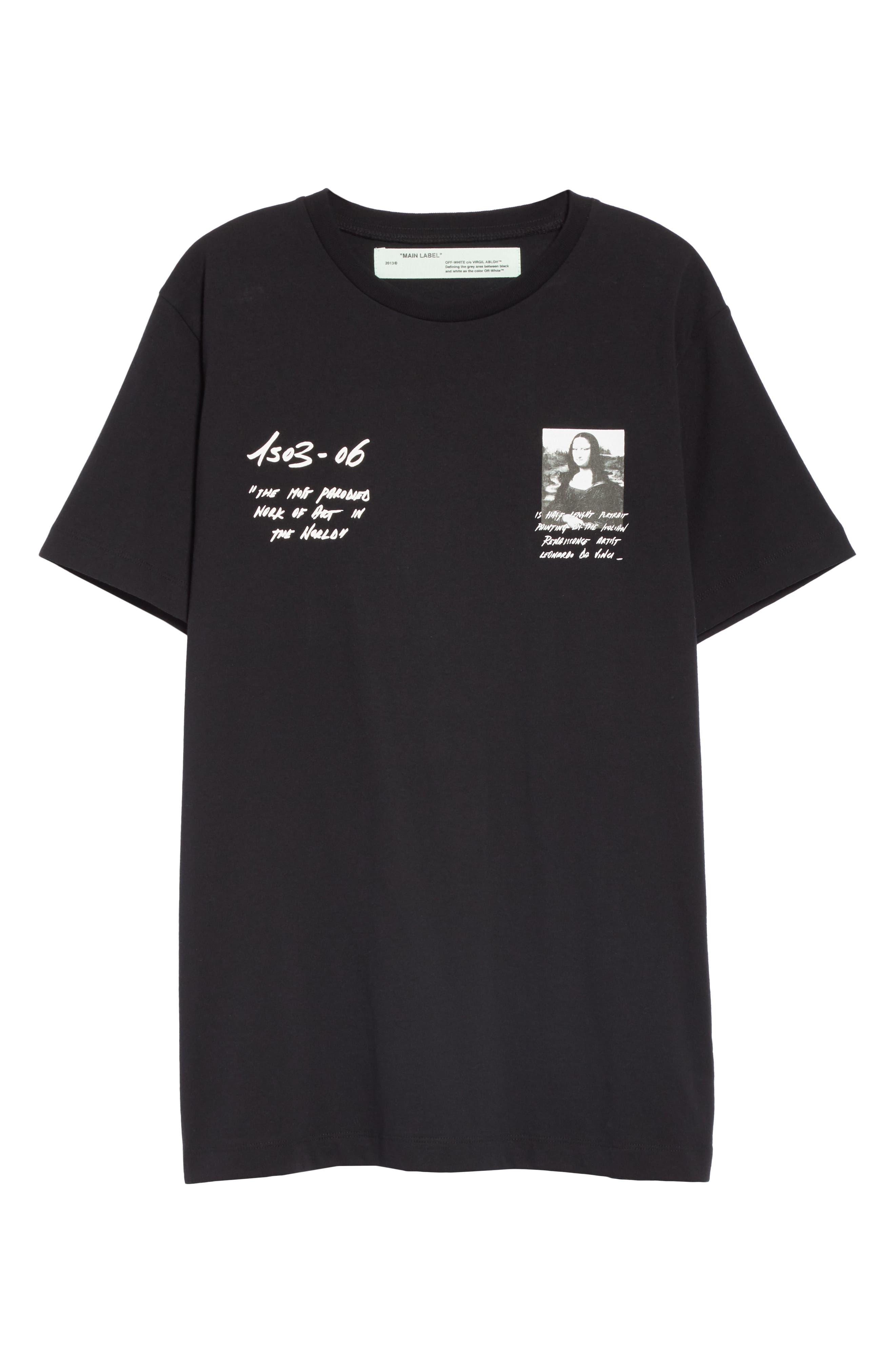 OFF-WHITE,                             Mona Lisa Sign Short Sleeve Slim Tee,                             Alternate thumbnail 6, color,                             BLACK RED