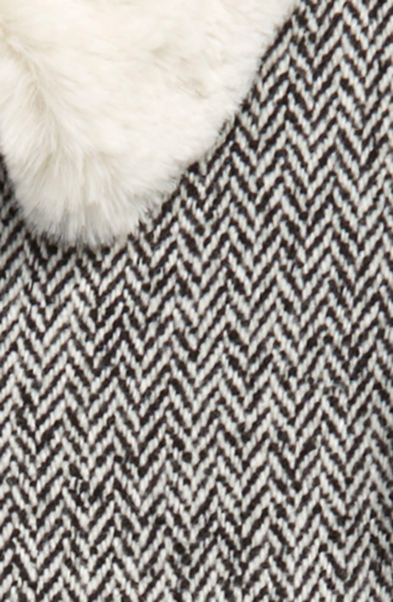 Cozy Faux Fur Collar Swing Coat,                             Alternate thumbnail 2, color,                             BLACK