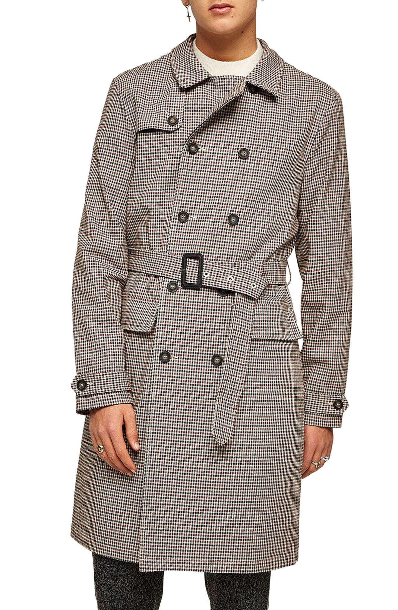 60s 70s Men's Jackets & Sweaters Mens Topman Houndstooth Trench Coat Size XX-Large - Brown $83.98 AT vintagedancer.com