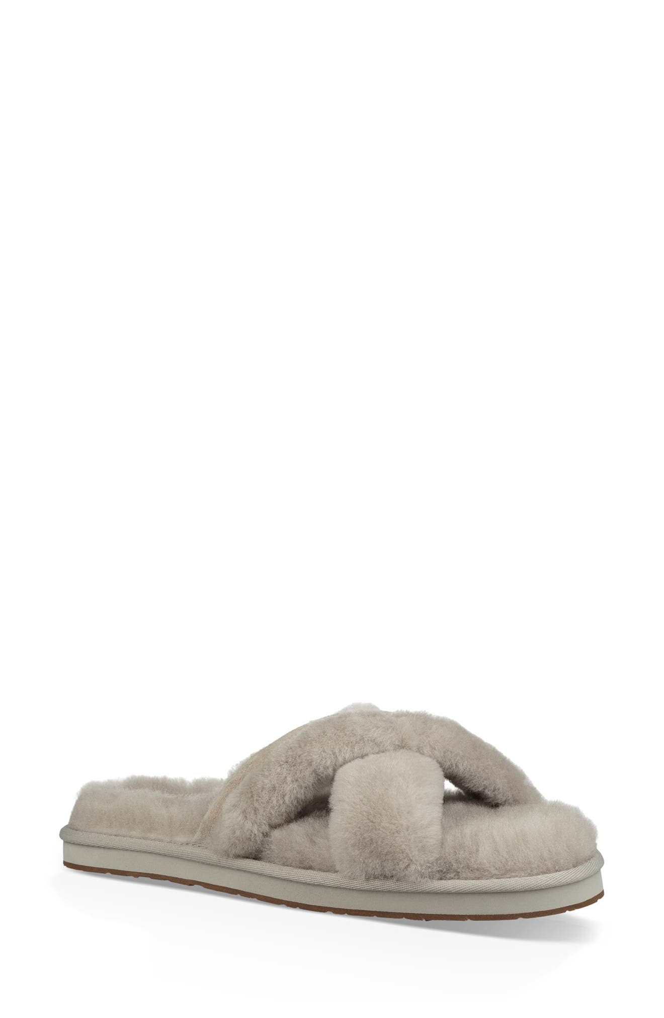 Abela Genuine Shearling Flip Flop,                             Main thumbnail 1, color,                             WILLOW WOOL