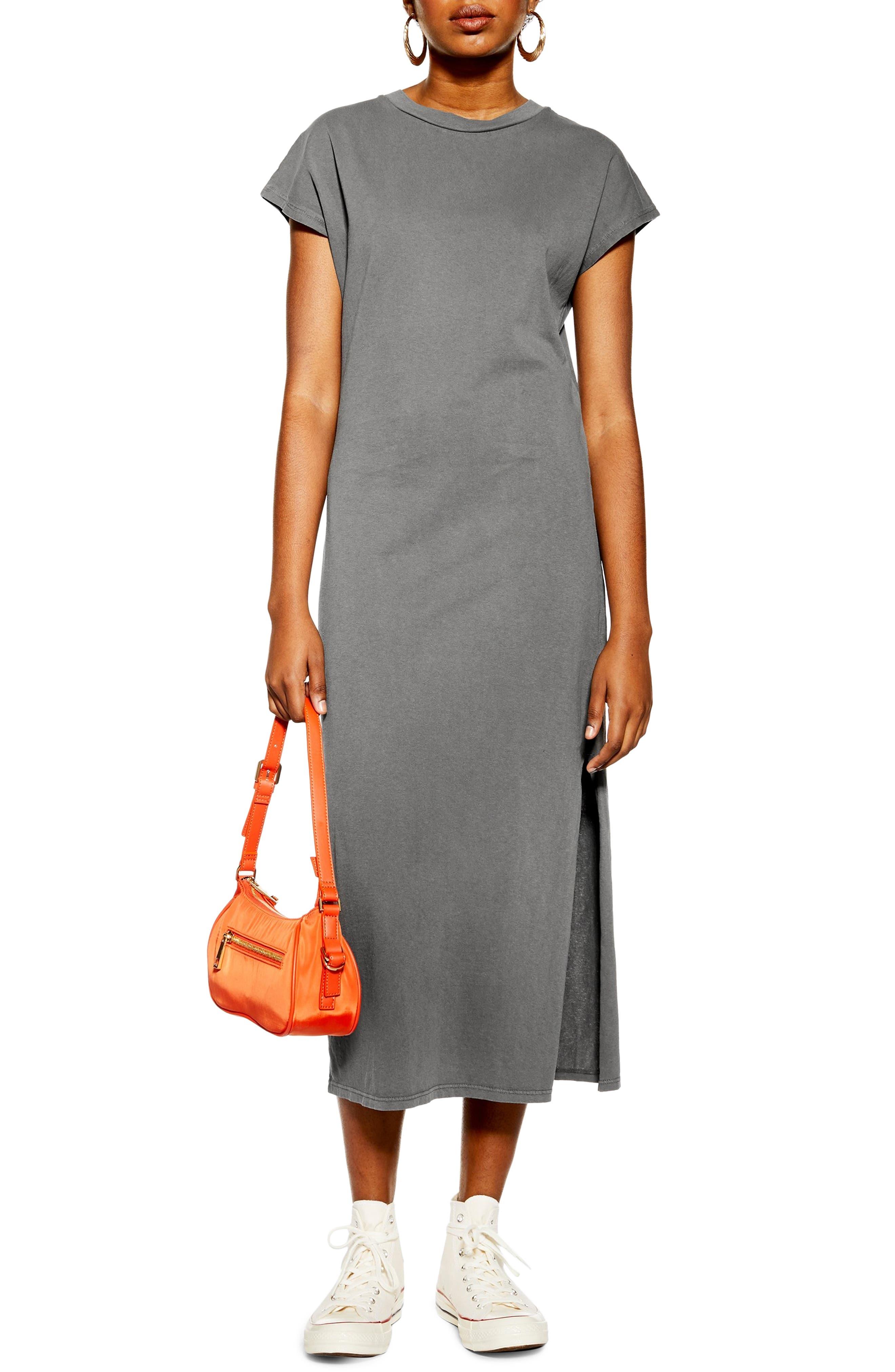 Topshop Acid Wash Midi Dress, US (fits like 0) - Black