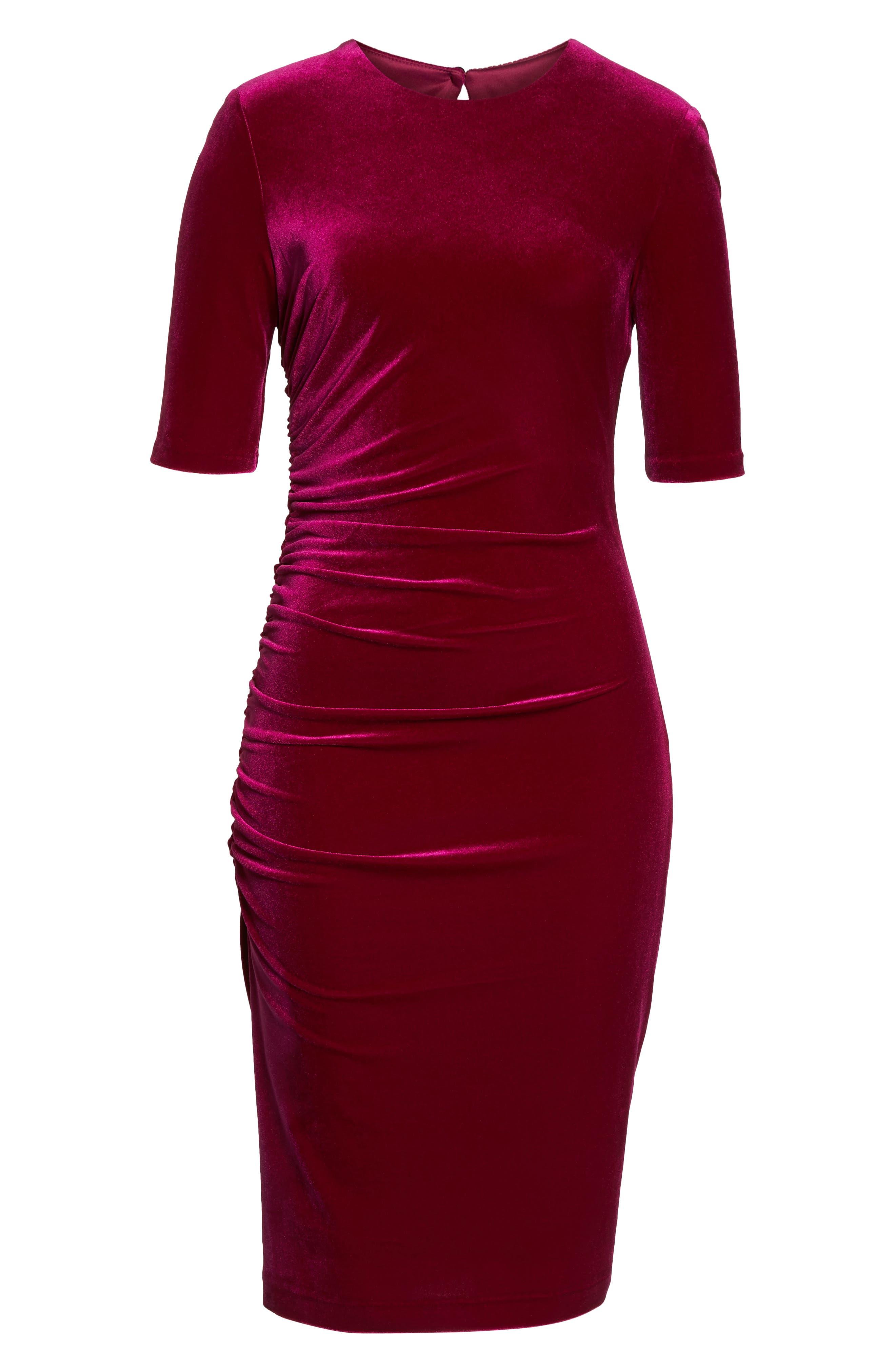 Elbow Sleeve Velvet Sheath Dress,                             Alternate thumbnail 7, color,                             FUSCHIA