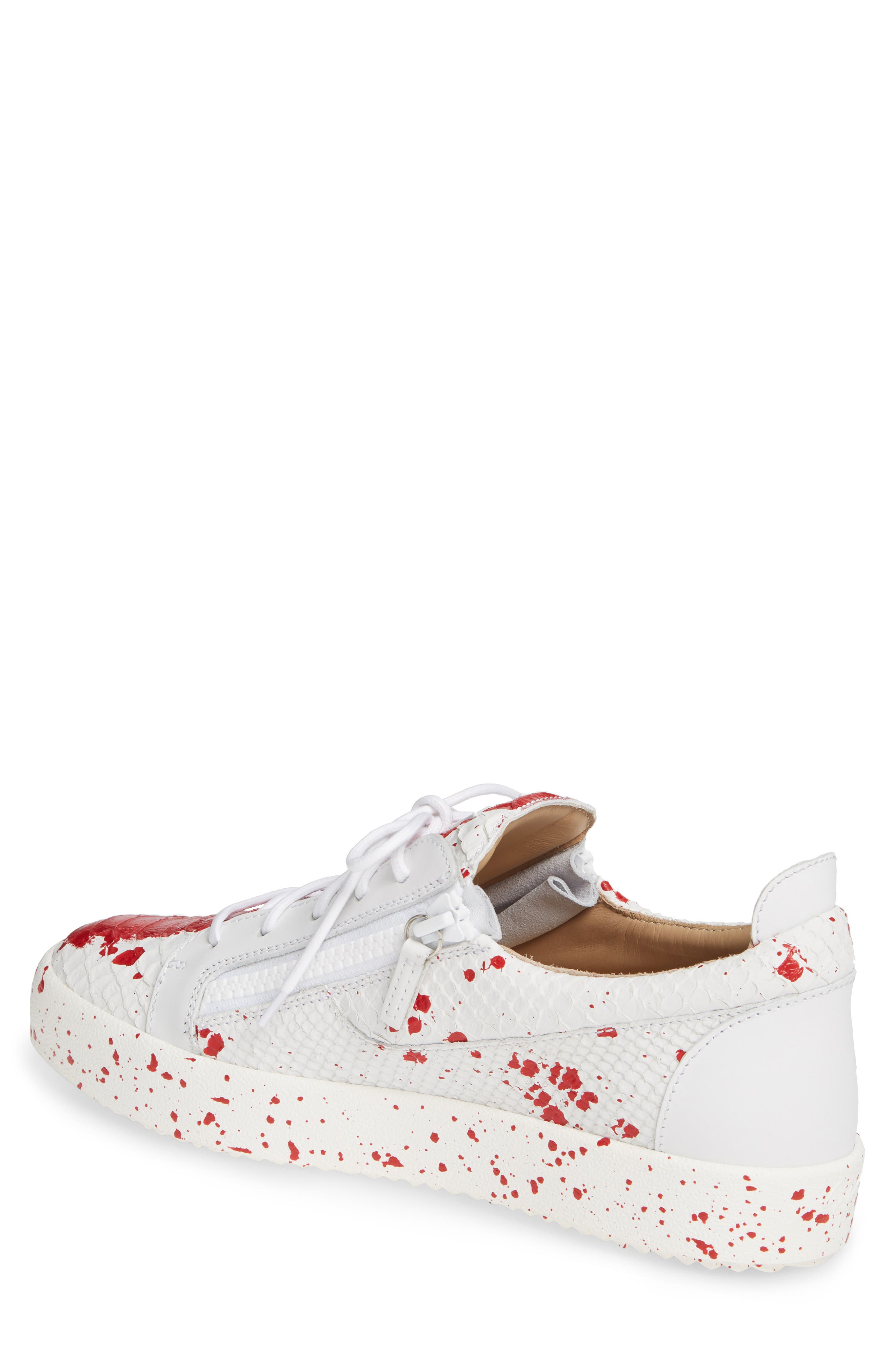 Embossed Low Top Sneaker,                             Alternate thumbnail 2, color,                             WHITE/ RED