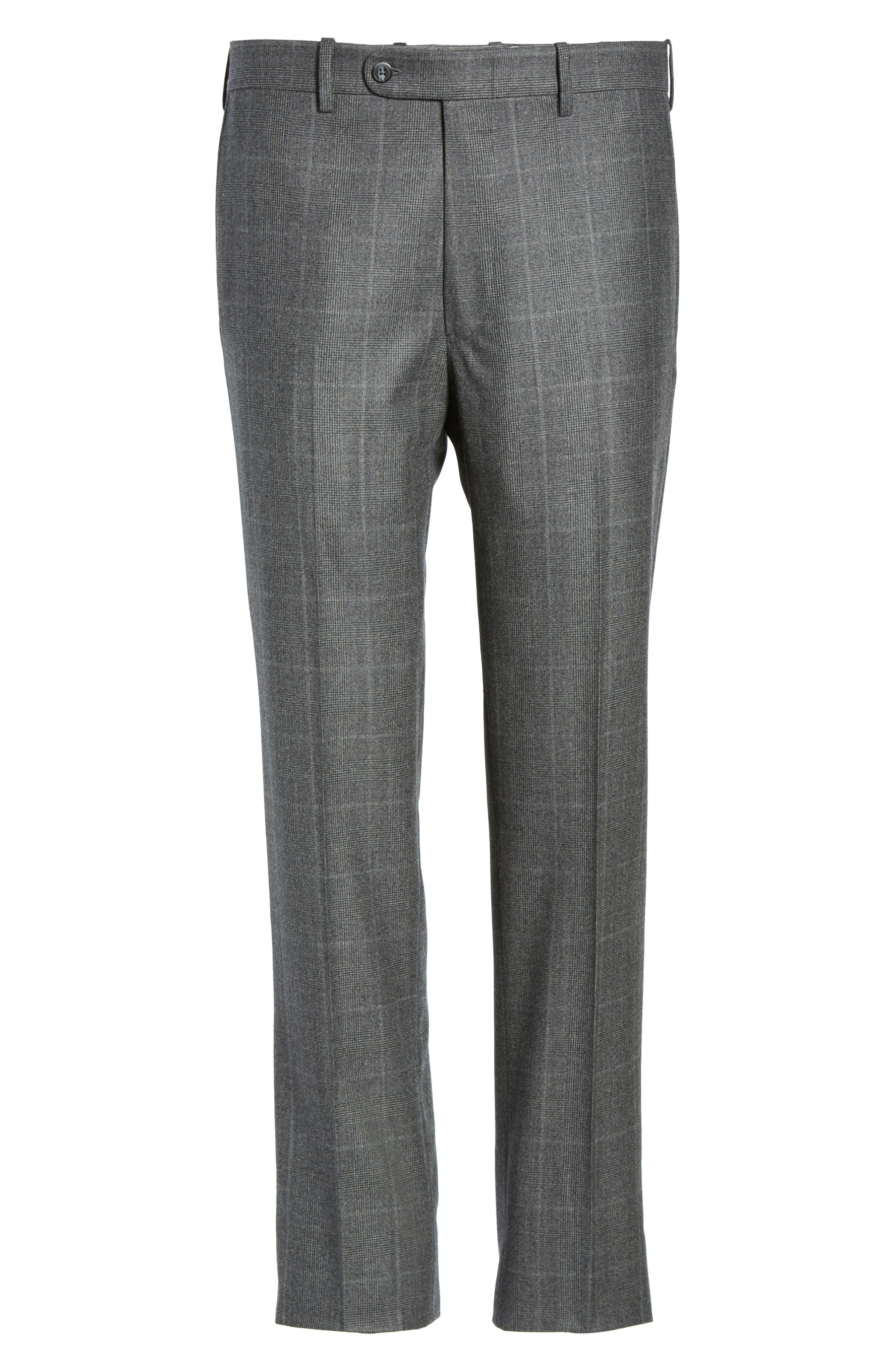 Flat Front Plaid Wool Trousers,                             Alternate thumbnail 6, color,                             032