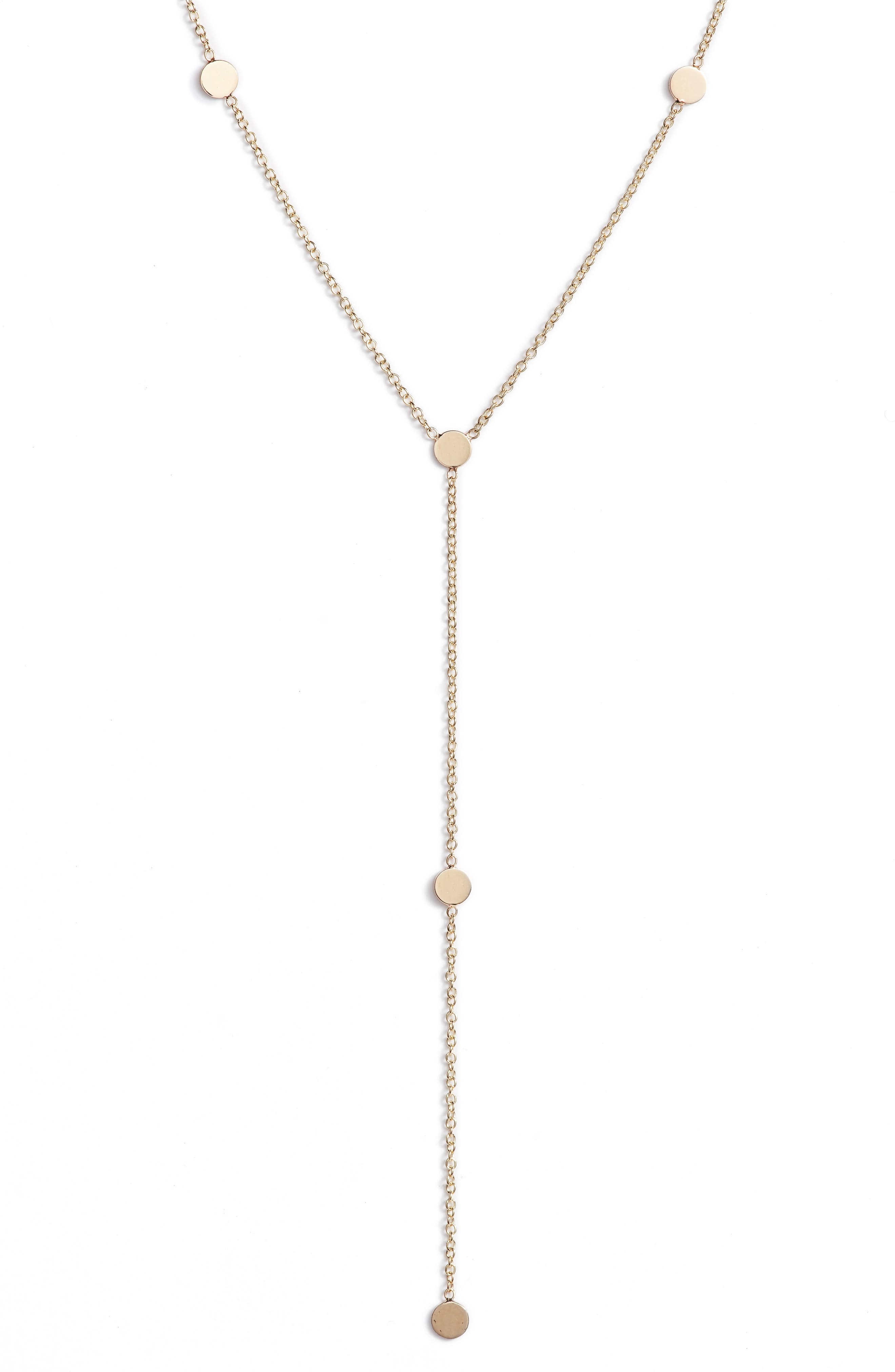 Zoe Chicco Itty Bitty Round Disk Lariat Necklace
