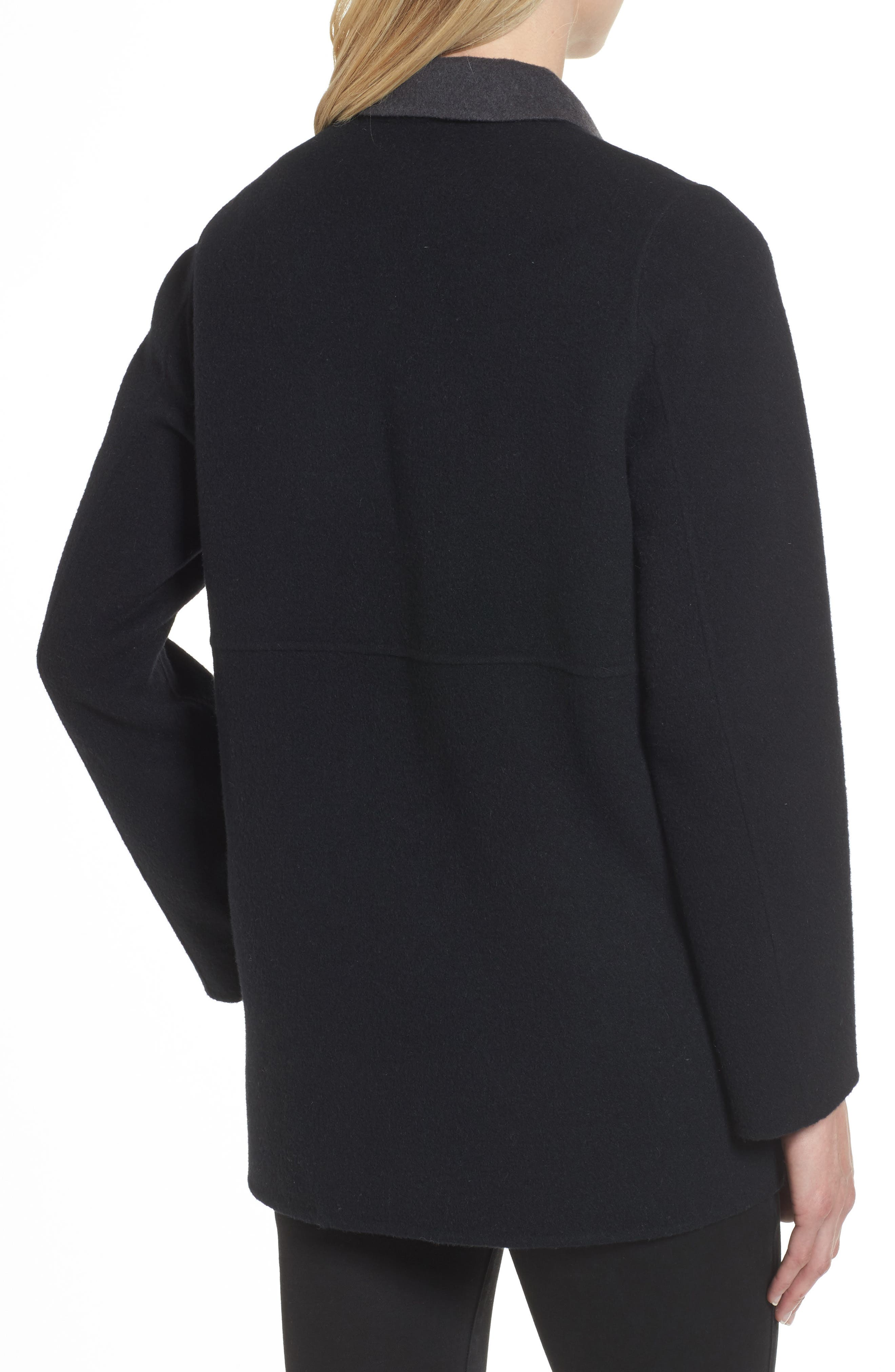 Double Face Brushed Wool Notch Collar Jacket,                             Alternate thumbnail 2, color,                             010