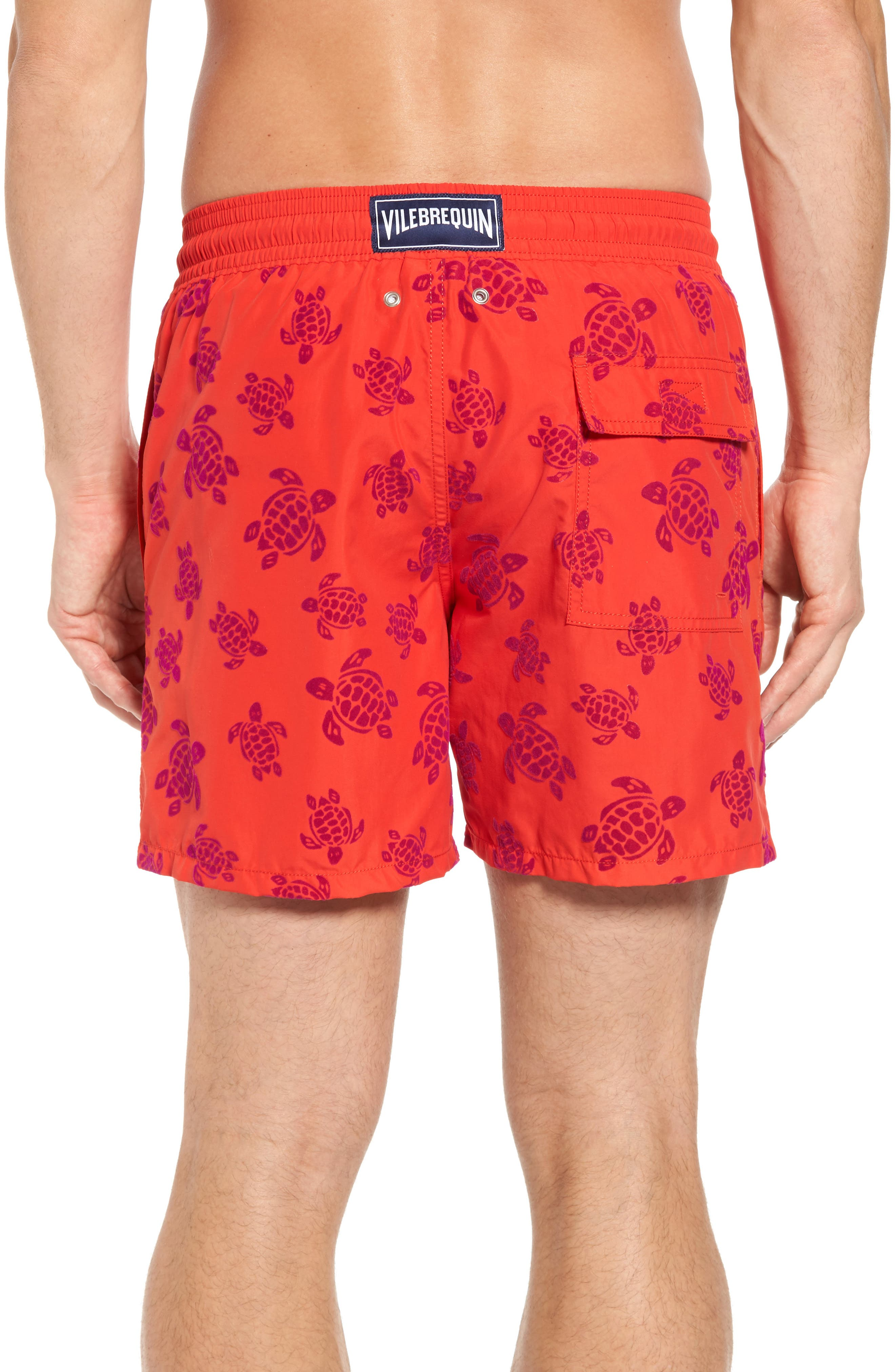 Flocked Turtles Swim Trunks,                             Alternate thumbnail 2, color,                             POPPY RED