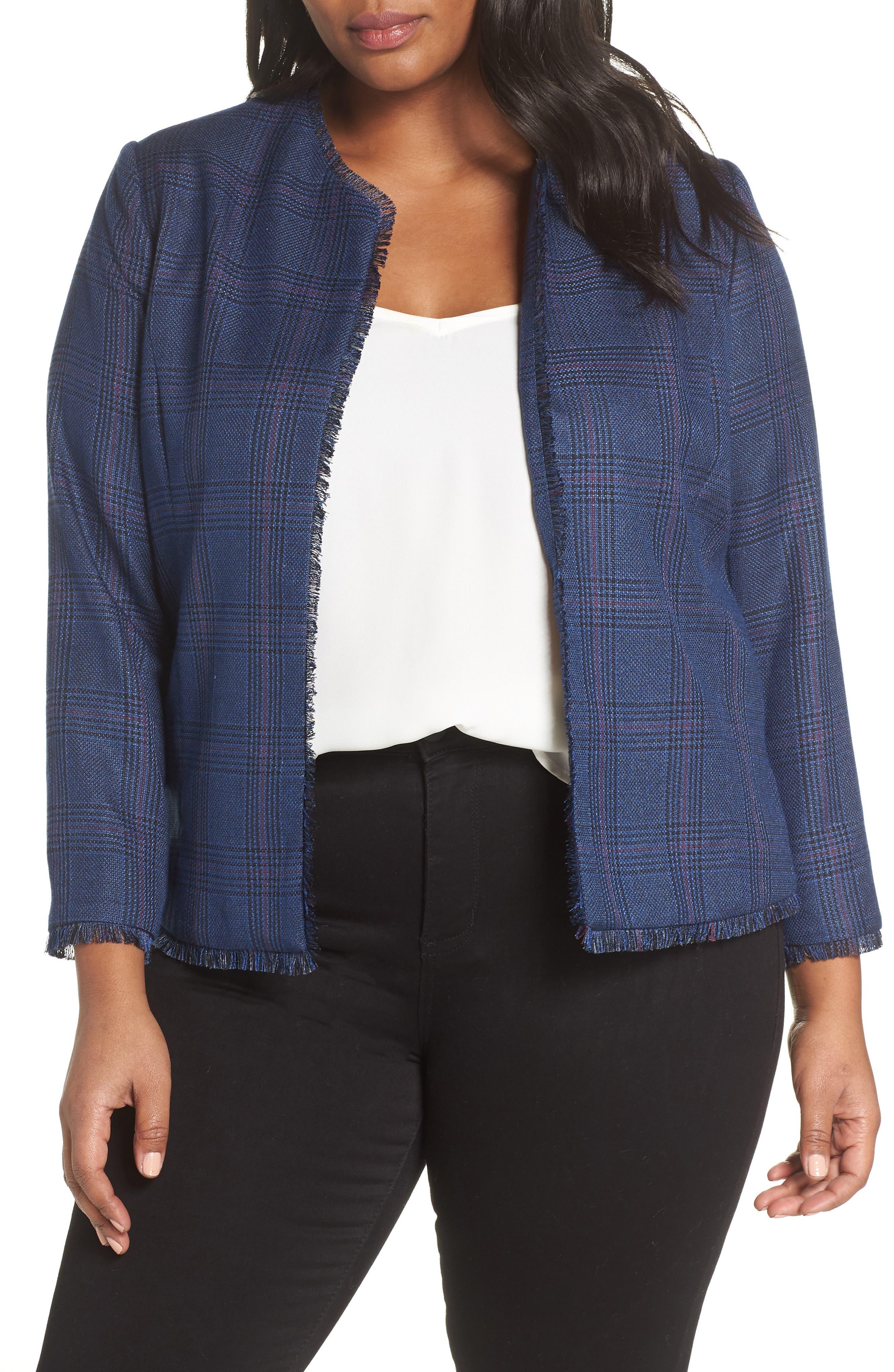 SEJOUR,                             Plaid Tweed Jacket,                             Main thumbnail 1, color,                             BLUE SAM PLAID